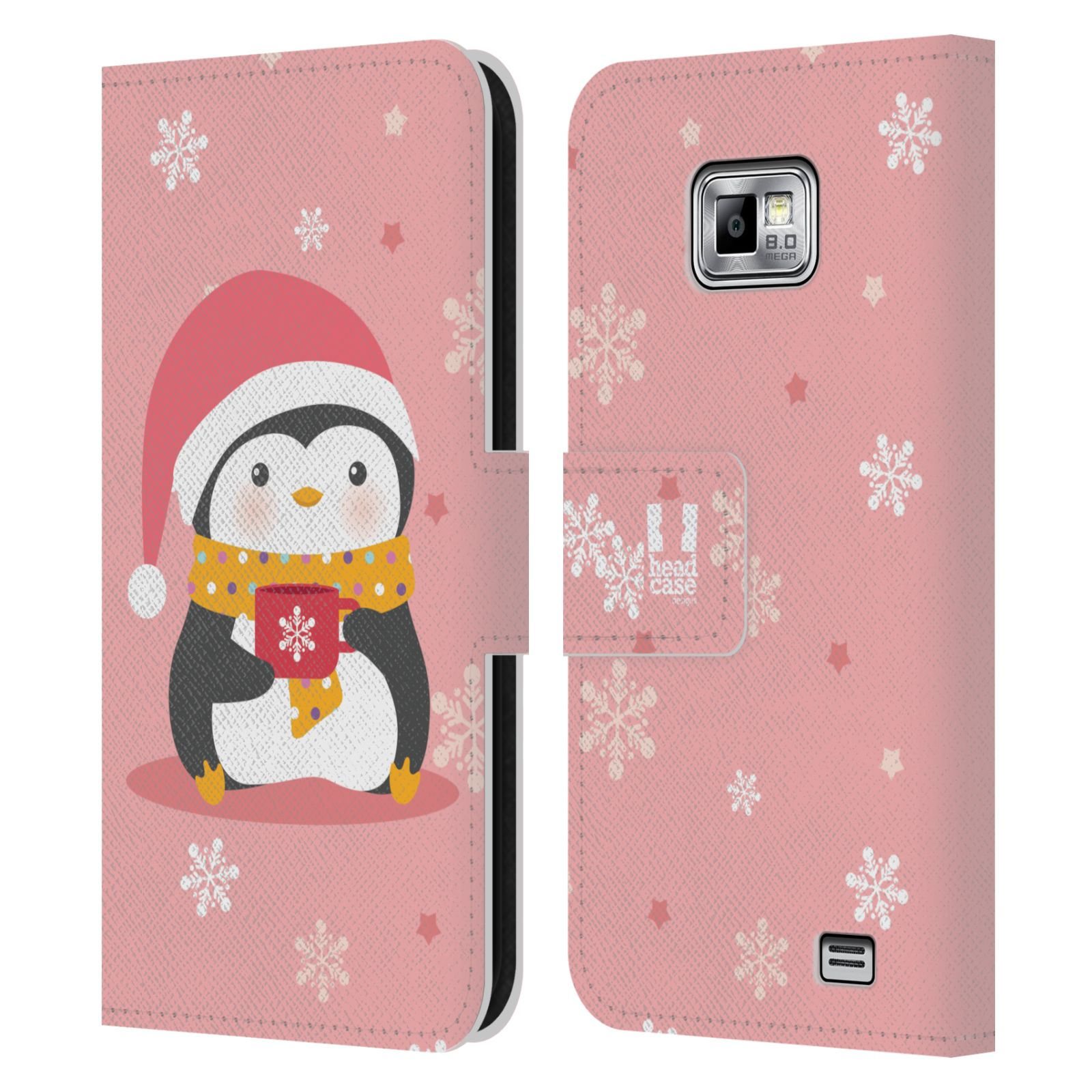 Penguin Book Phone Cover : Head case kawaii christmas penguins leather book for