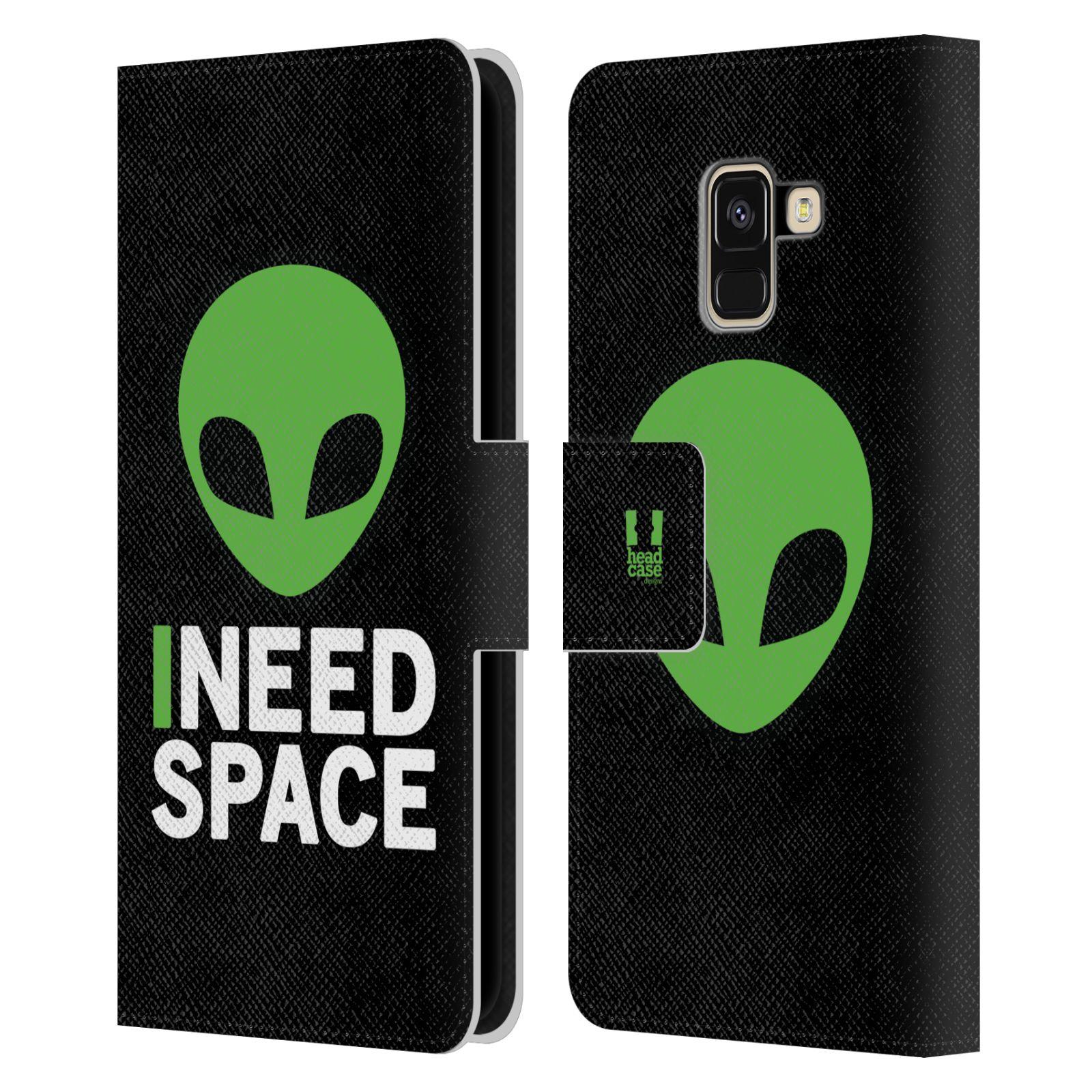 Pouzdro na mobil Samsung Galaxy A8 2018 - Head Case - zelený mimozemšťan Ufoun
