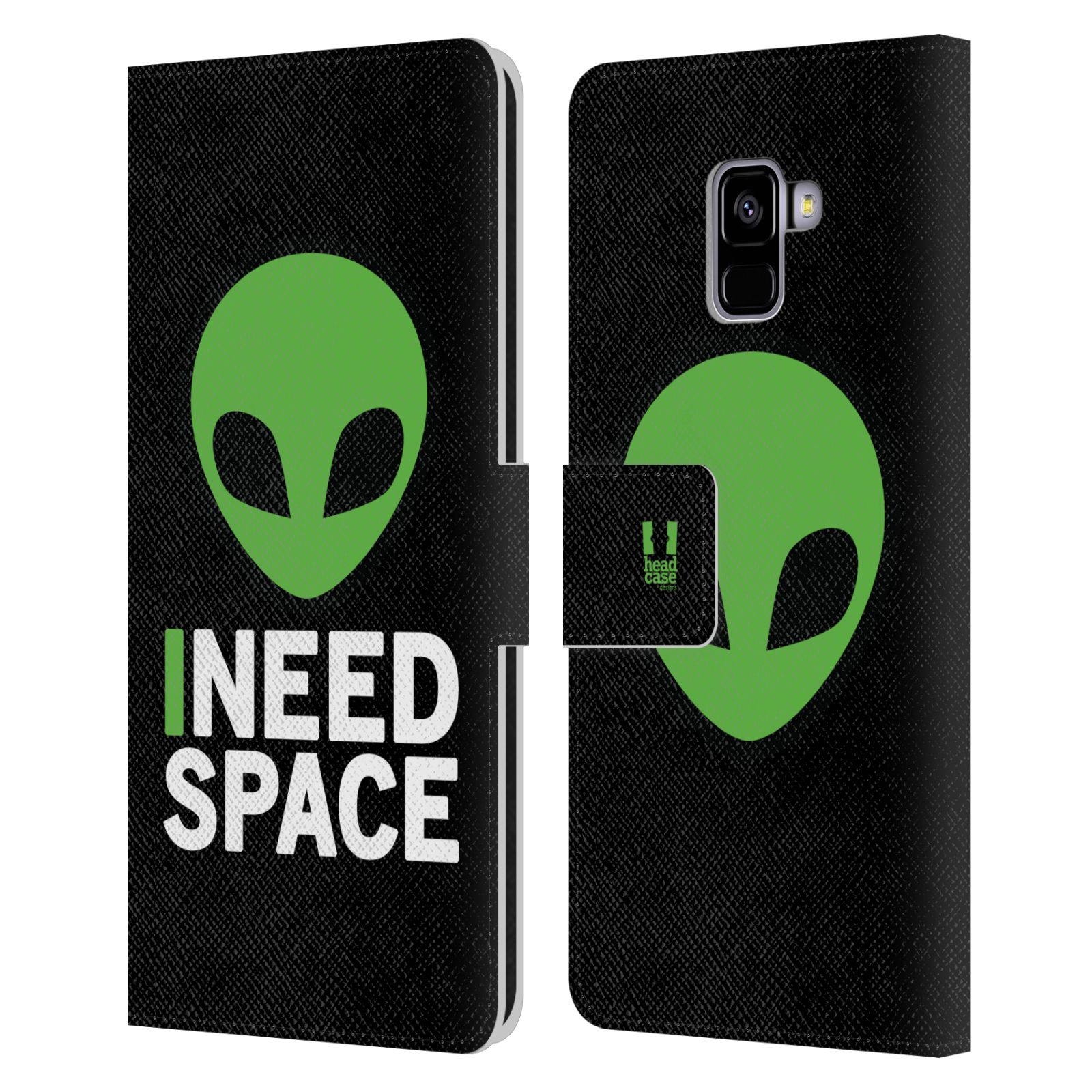 Pouzdro na mobil Samsung Galaxy A8 PLUS 2018 - Head Case - zelený mimozemšťan Ufoun
