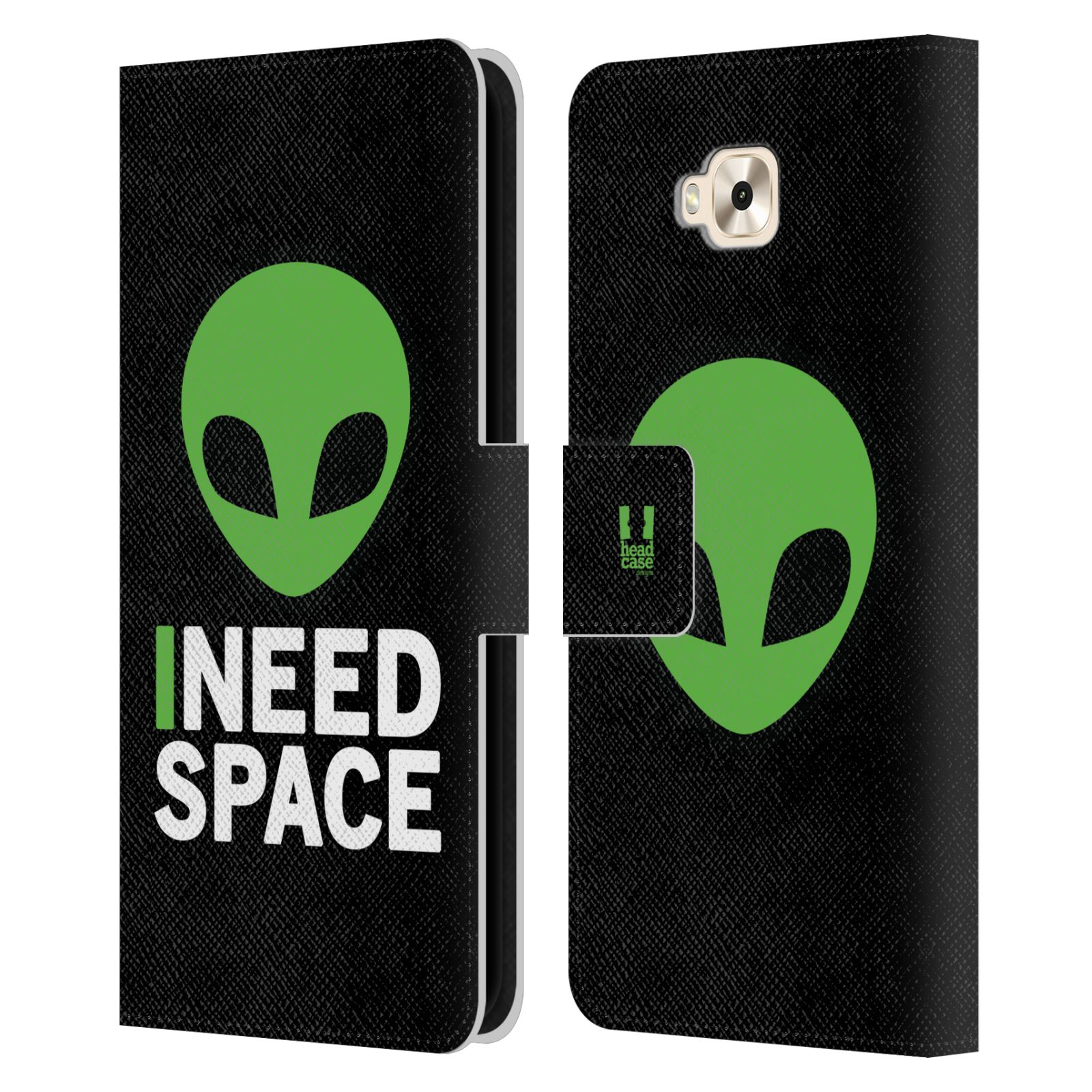 Pouzdro na mobil Asus Zenfone 4 Selfie ZD553KL - Head Case - zelený mimozemšťan Ufoun