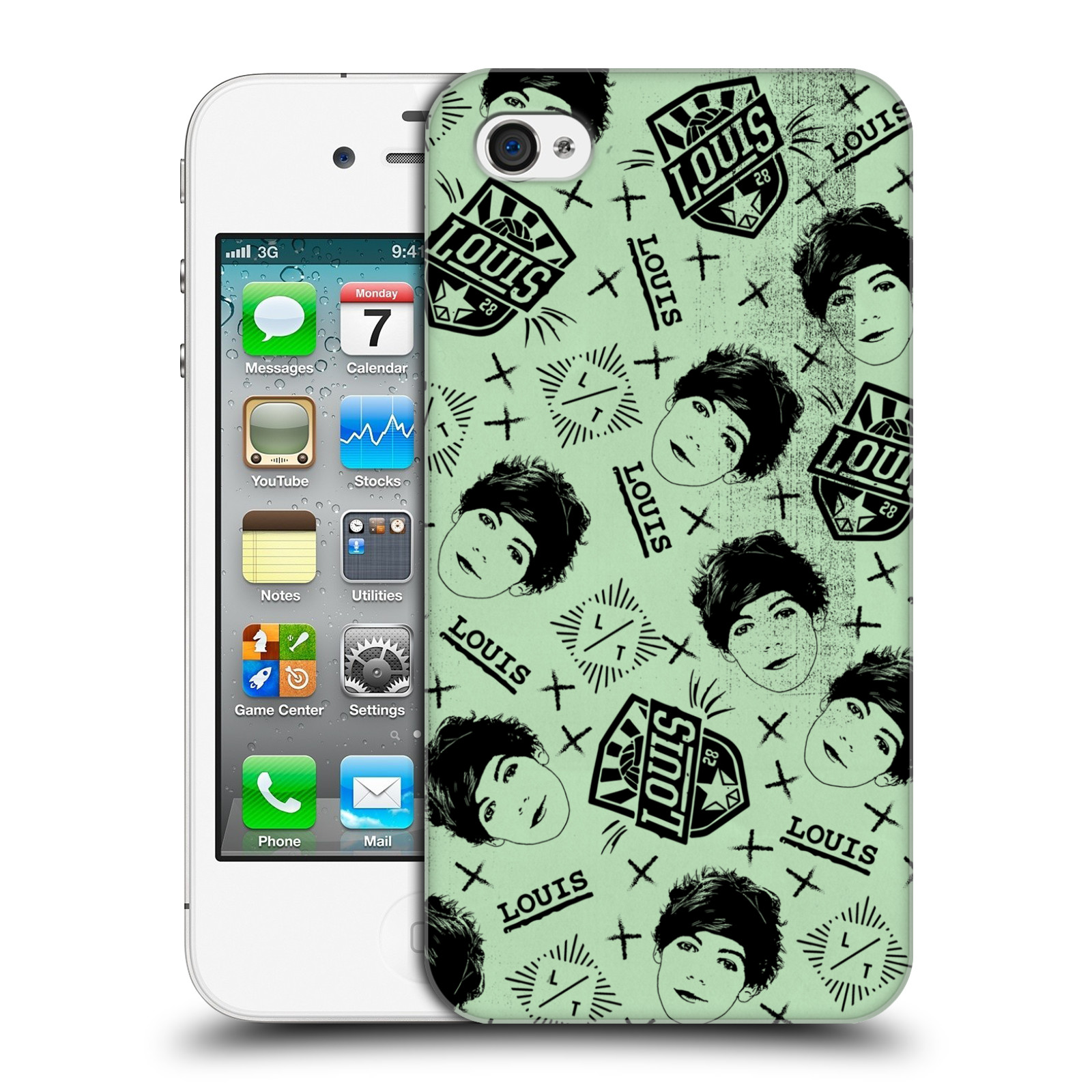 OFFICIAL-ONE-DIRECTION-DOODLE-FACE-PATTERNS-HARD-BACK-CASE-FOR-APPLE-iPHONE-4S