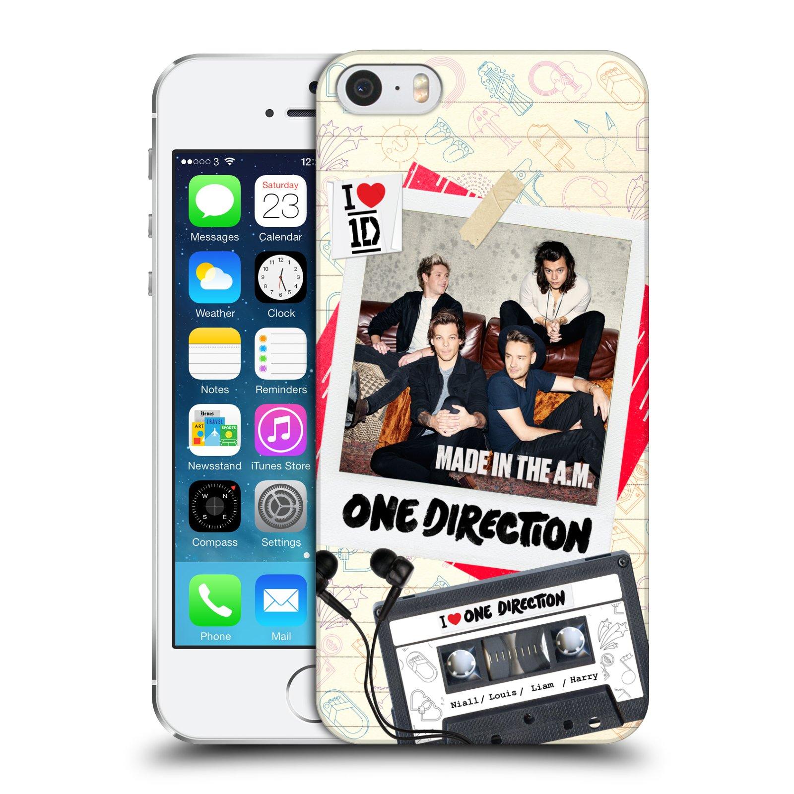 Plastové pouzdro pro mobil Apple Iphone 5 / 5S / SE chlapecká skupina One Direction skupinové foto kazeta a sluchátka