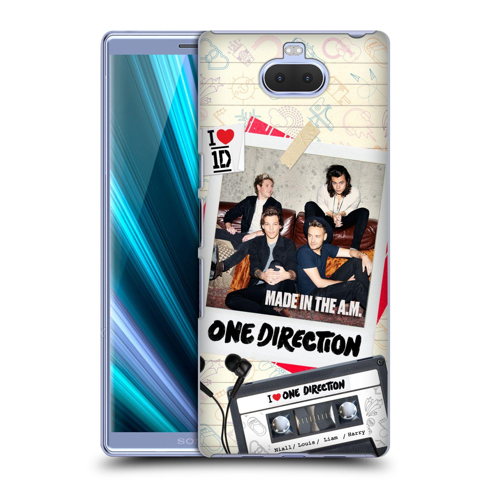 Pouzdro na mobil Sony Xperia 10 - Head Case - chlapecká skupina One Direction skupinové foto kazeta a sluchátka