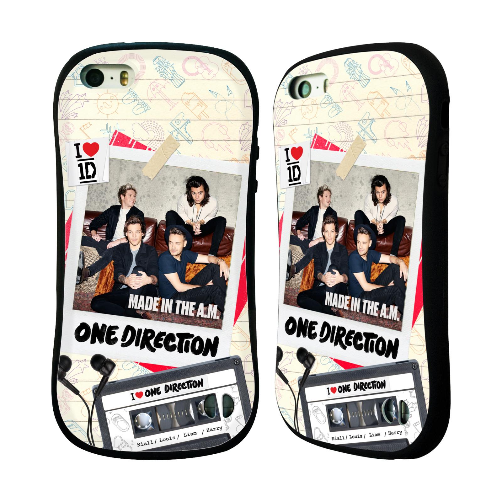 HEAD CASE odolný obal na mobil Apple Iphone 5/5S a SE chlapecká skupina One Direction skupinové foto kazeta a sluchátka
