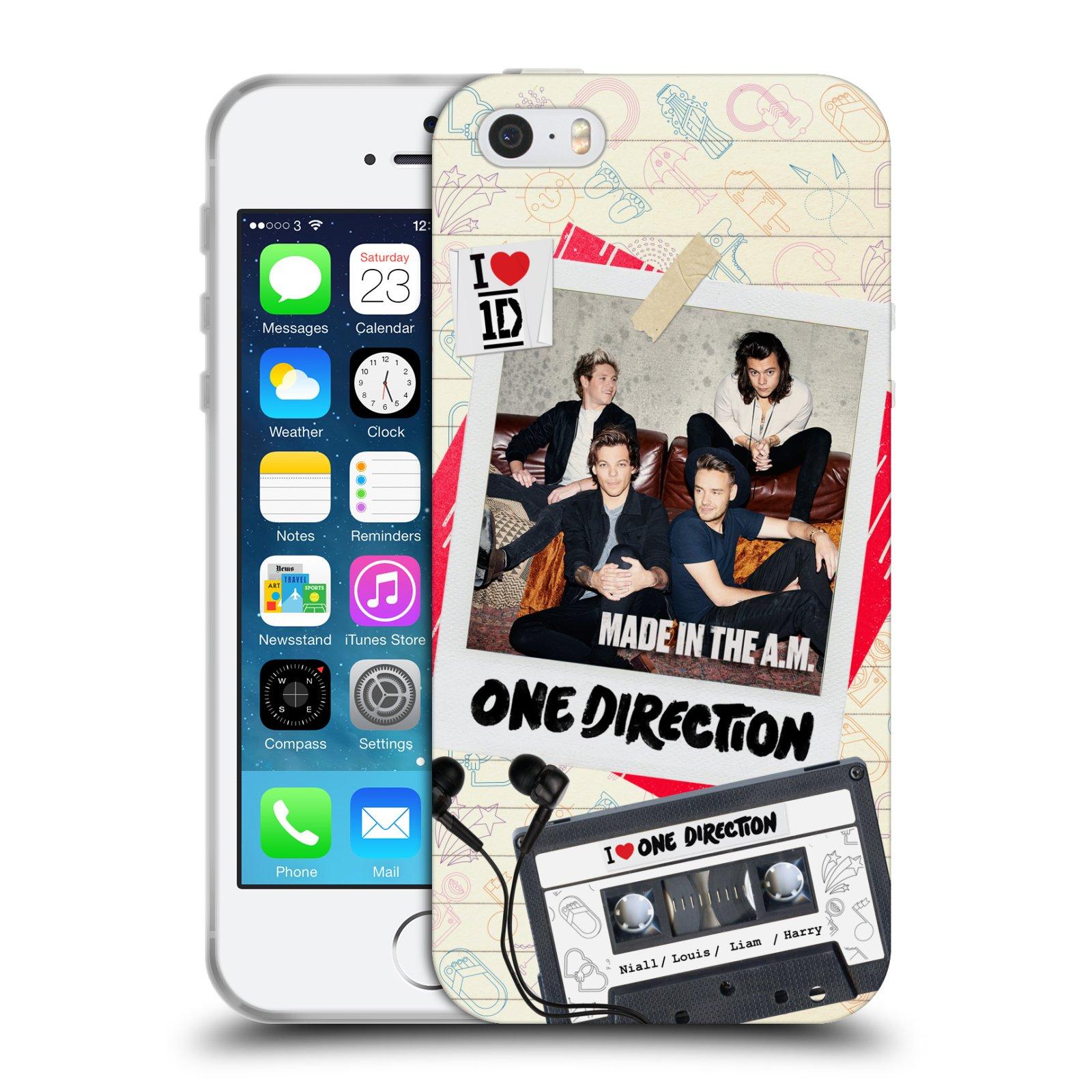 HEAD CASE silikonový obal na mobil Apple Iphone 5/5S chlapecká skupina One Direction skupinové foto kazeta a sluchátka