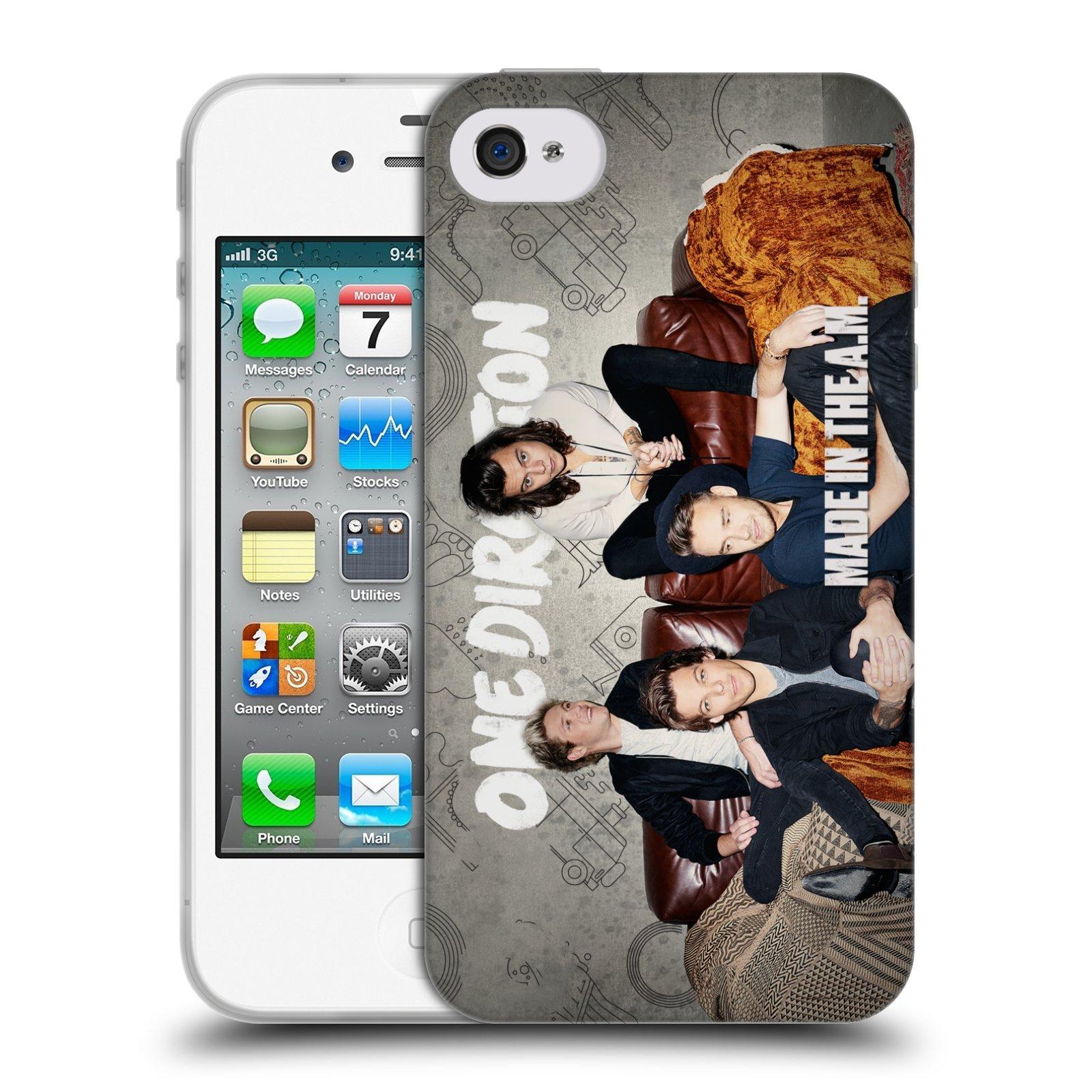 HEAD CASE silikonový obal na mobil Apple Iphone 4/4S chlapecká skupina One Direction gauč