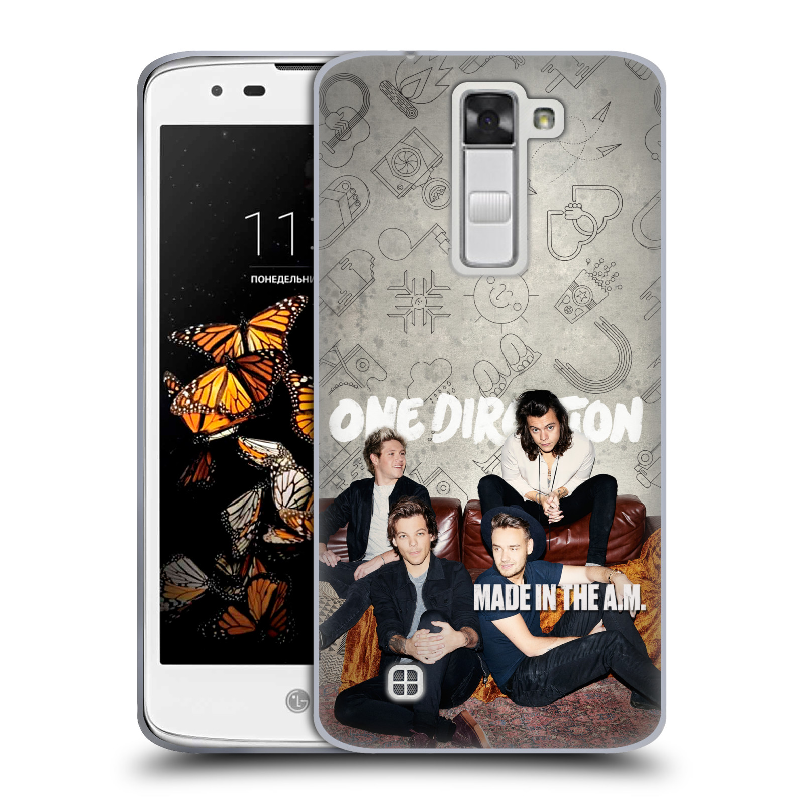 HEAD CASE silikonový obal na mobil LG K8 chlapecká skupina One Direction gauč