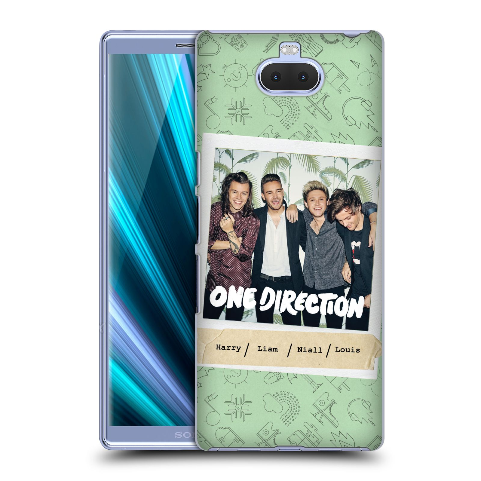 Pouzdro na mobil Sony Xperia 10 - Head Case - chlapecká skupina One Direction skupinové foto zelené pozadí