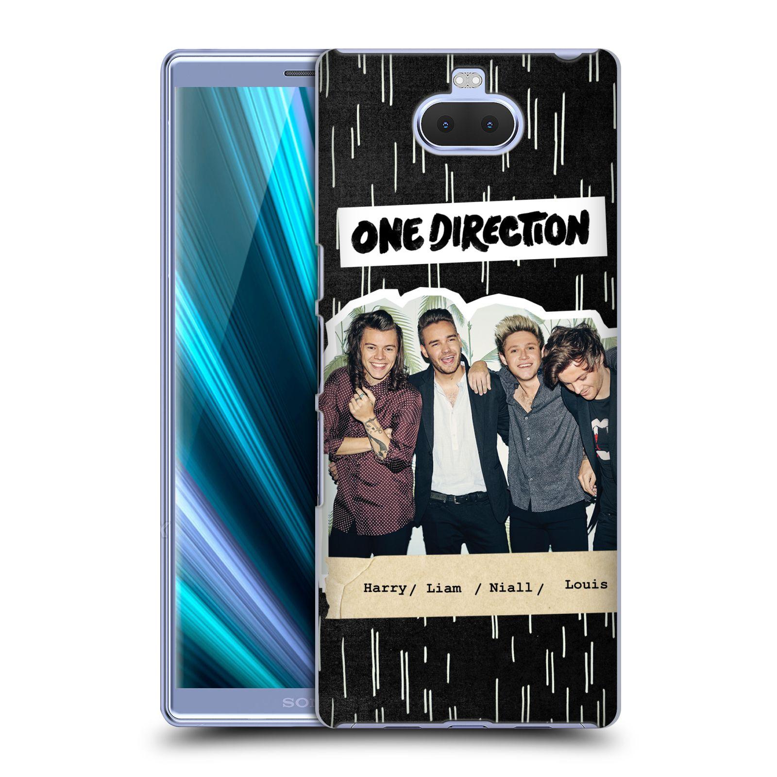 Pouzdro na mobil Sony Xperia 10 - Head Case - chlapecká skupina One Direction skupinové foto černé pozadí doodle