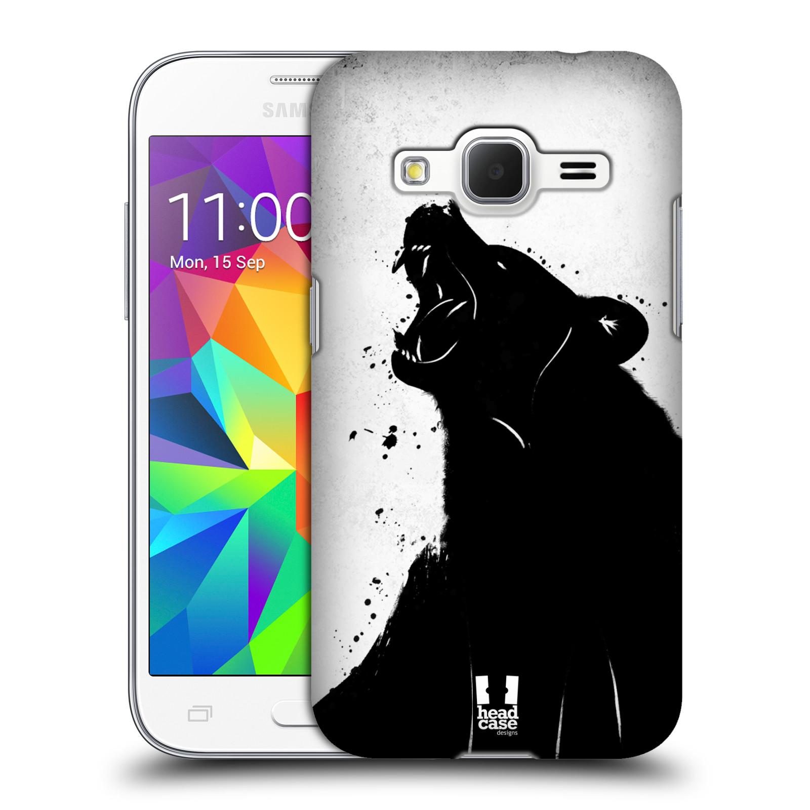 HEAD CASE plastový obal na mobil SAMSUNG GALAXY Core Prime (Core Prime VE) vzor Kresba tuš zvíře medvěd