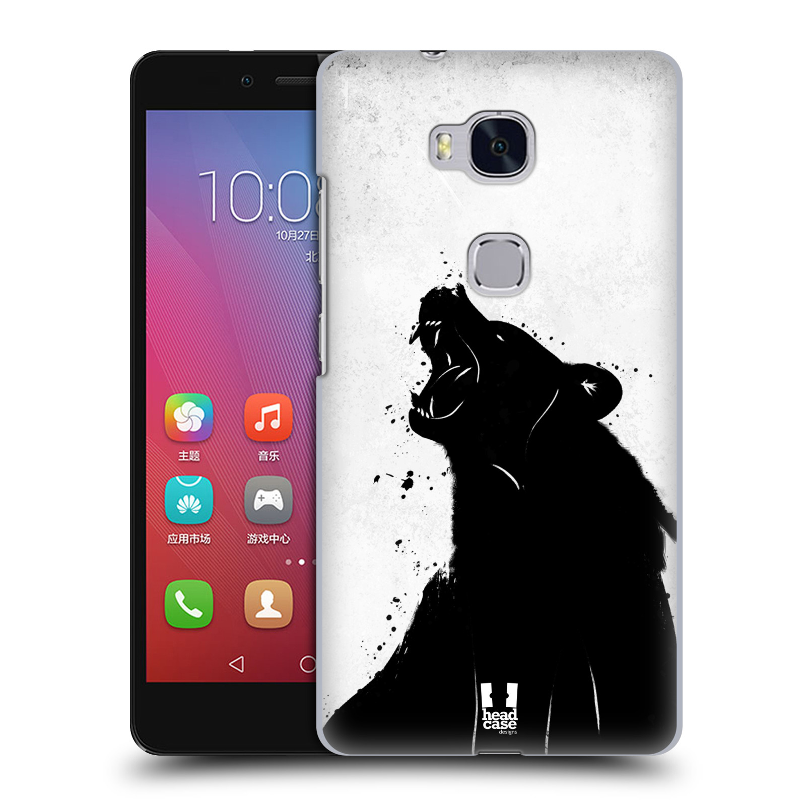 HEAD CASE pevný plastový obal na mobil HUAWEI HONOR 5X vzor Kresba tuš zvíře medvěd