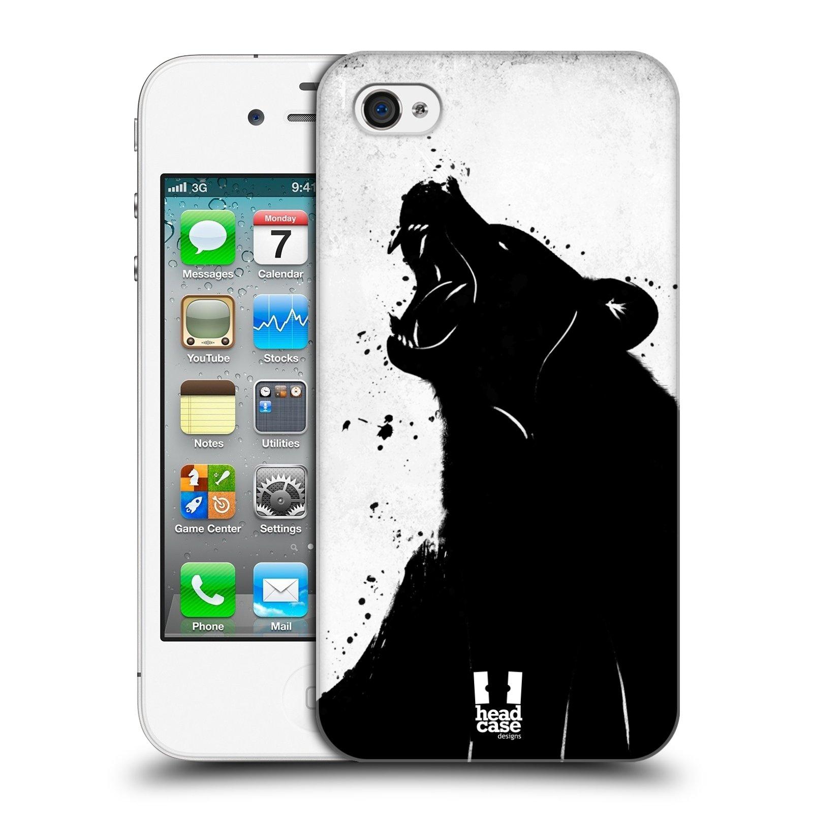 HEAD CASE plastový obal na mobil Apple Iphone 4/4S vzor Kresba tuš zvíře medvěd