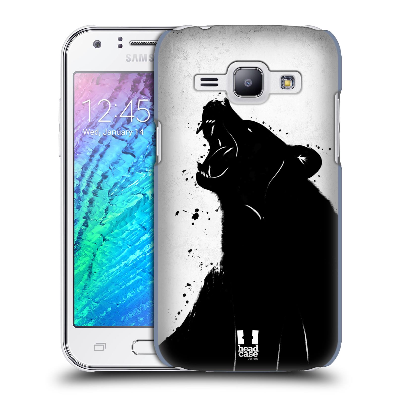 HEAD CASE plastový obal na mobil SAMSUNG Galaxy J1, J100 vzor Kresba tuš zvíře medvěd