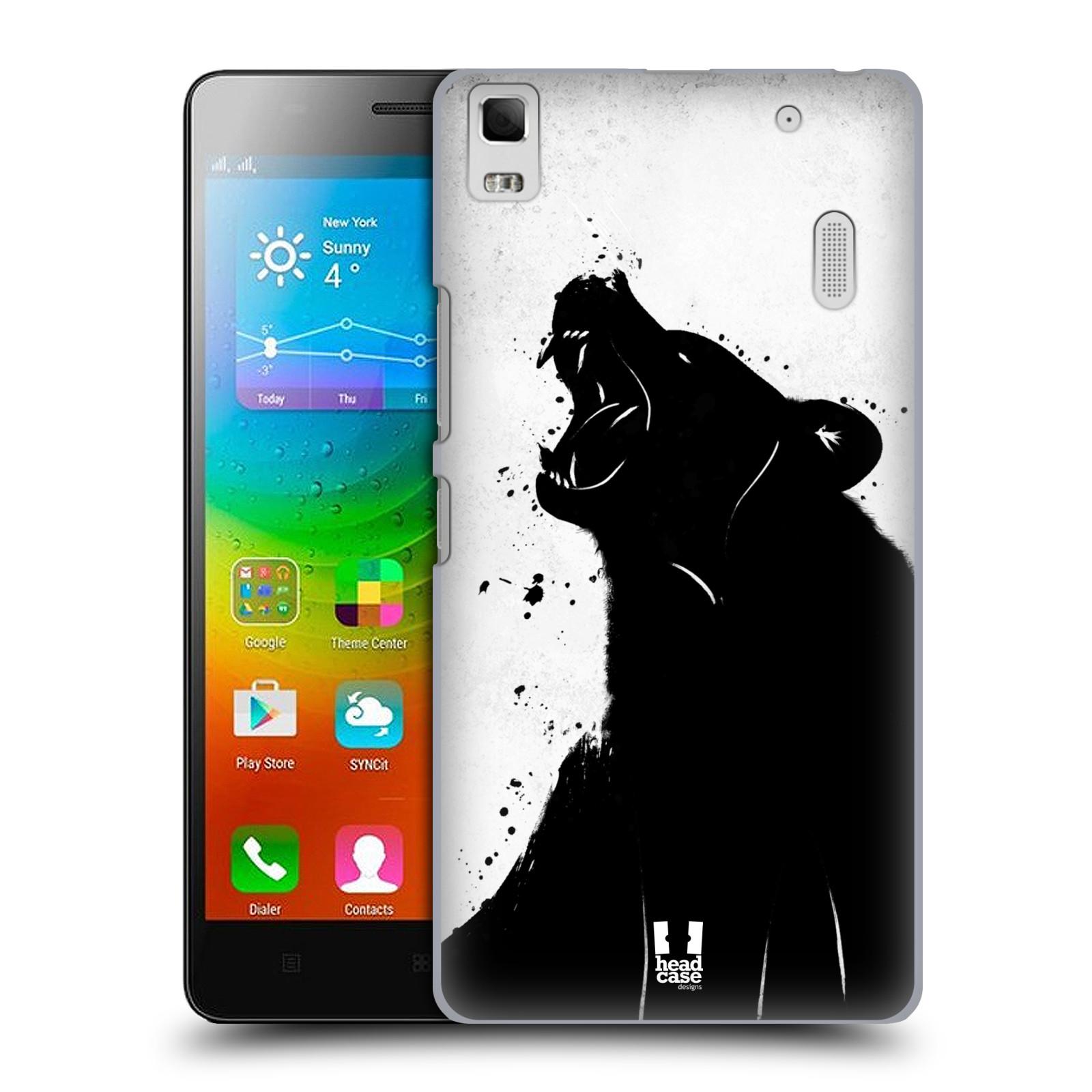 HEAD CASE pevný plastový obal na mobil LENOVO A7000 / A7000 DUAL / K3 NOTE vzor Kresba tuš zvíře medvěd