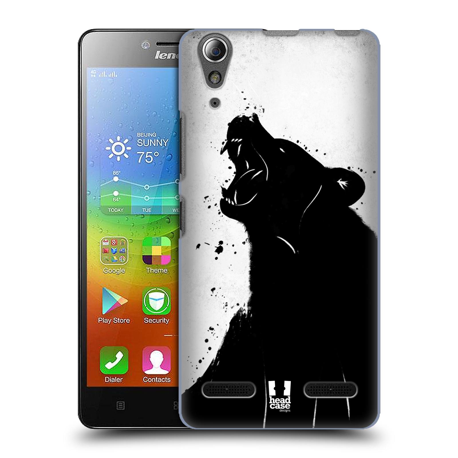 HEAD CASE pevný plastový obal na mobil LENOVO A6000 / A6000 PLUS vzor Kresba tuš zvíře medvěd