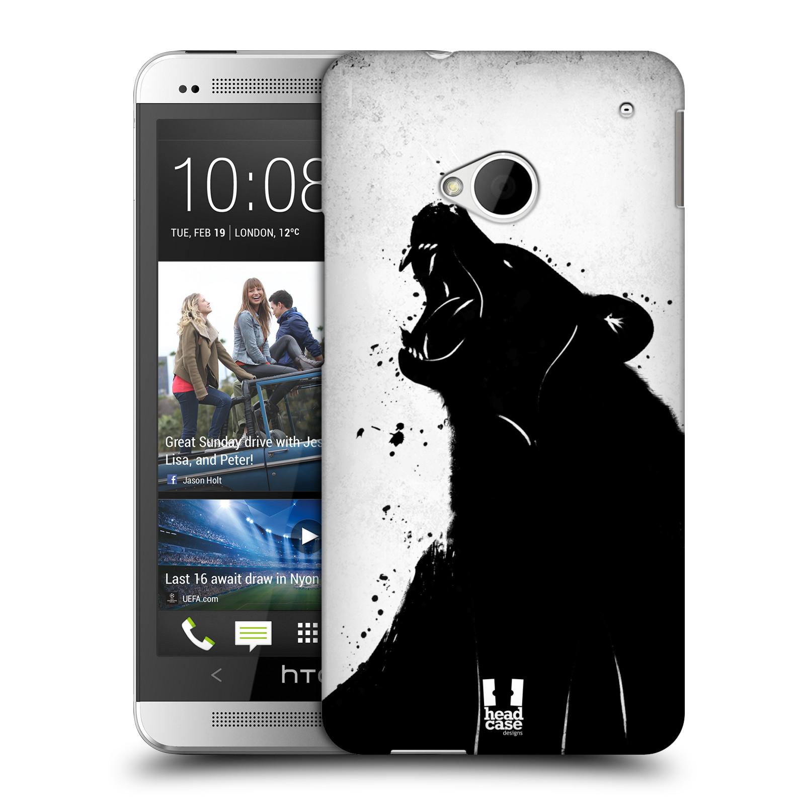 HEAD CASE plastový obal na mobil HTC One (M7) vzor Kresba tuš zvíře medvěd