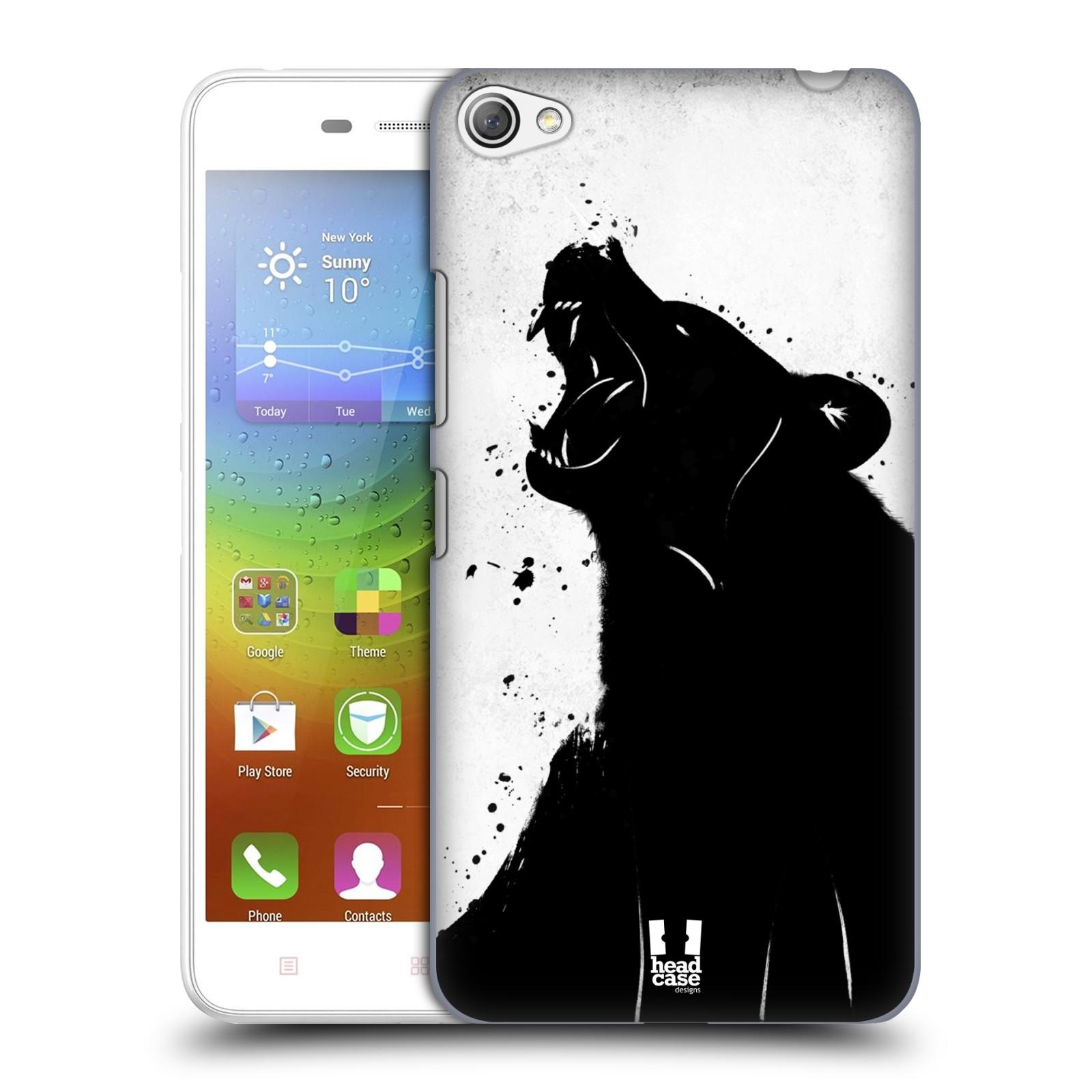 HEAD CASE pevný plastový obal na mobil LENOVO S60 / LENOVO S60 DUAL SIM vzor Kresba tuš zvíře medvěd