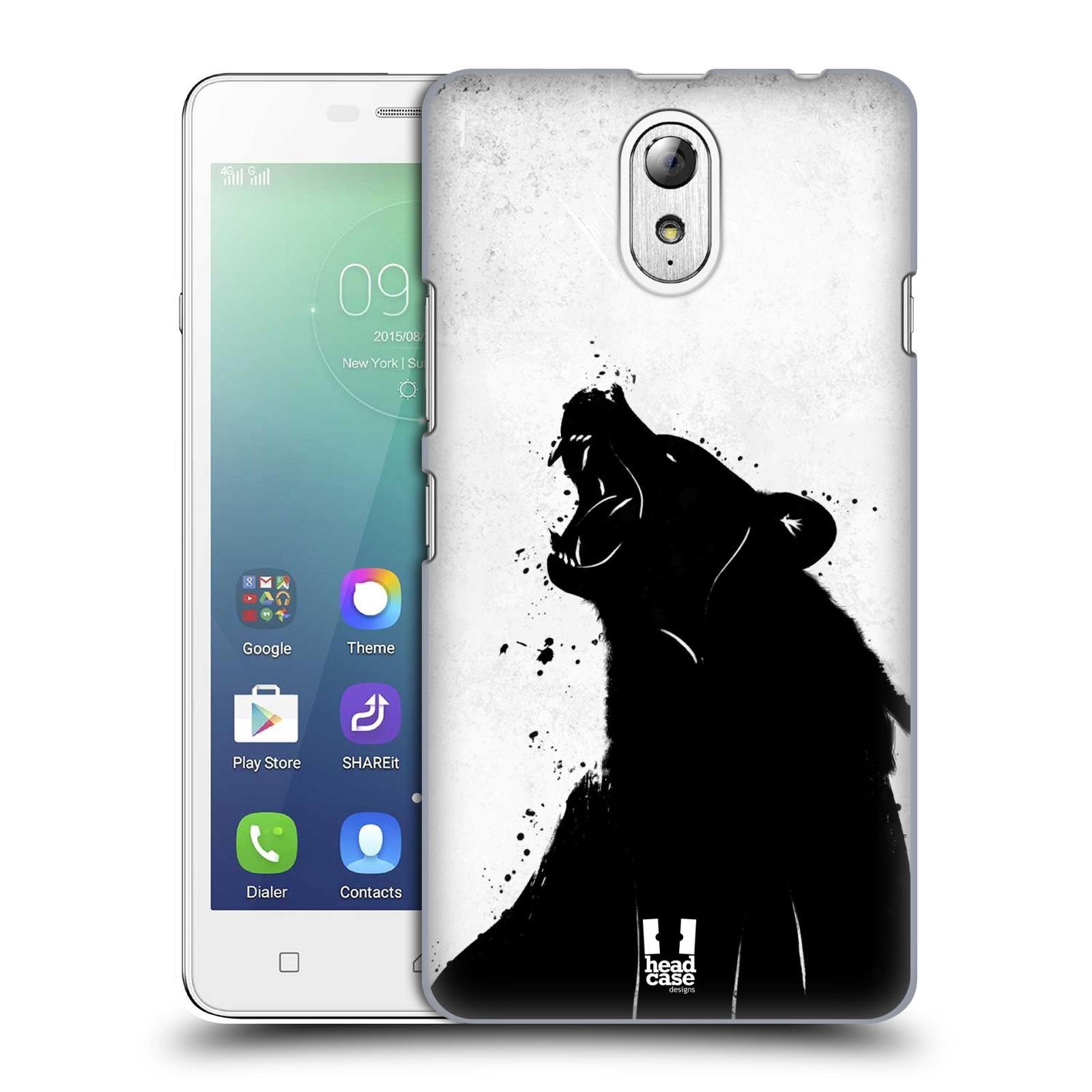 HEAD CASE pevný plastový obal na mobil LENOVO VIBE P1m / LENOVO VIBE p1m DUAL SIM vzor Kresba tuš zvíře medvěd