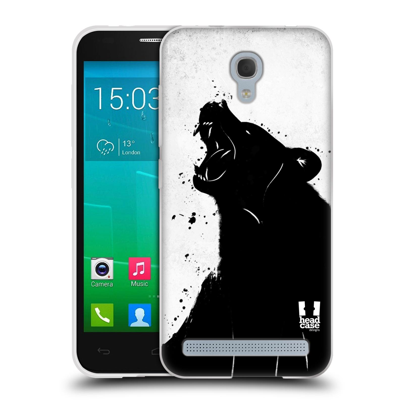 HEAD CASE silikonový obal na mobil Alcatel Idol 2 MINI S 6036Y vzor Kresba tuš zvíře medvěd
