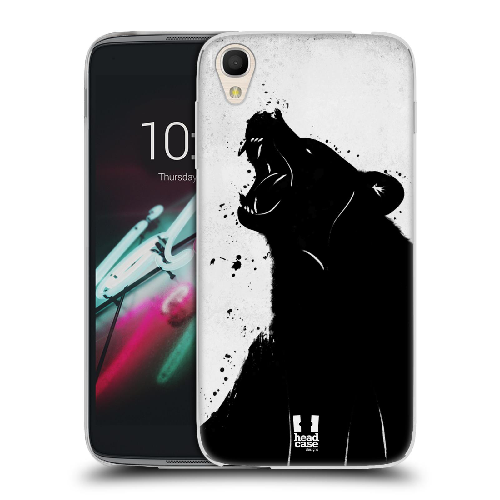 HEAD CASE silikonový obal na mobil Alcatel Idol 3 OT-6039Y (4.7) vzor Kresba tuš zvíře medvěd