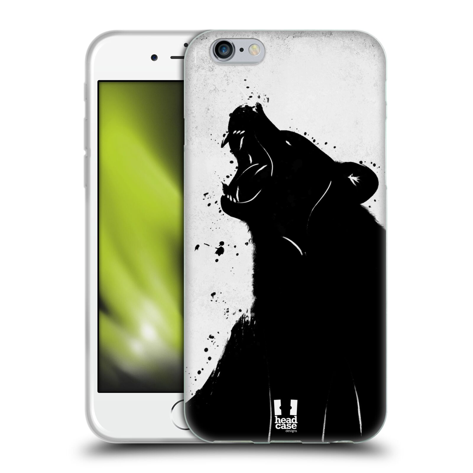 HEAD CASE silikonový obal na mobil Apple Iphone 6/6S vzor Kresba tuš zvíře medvěd