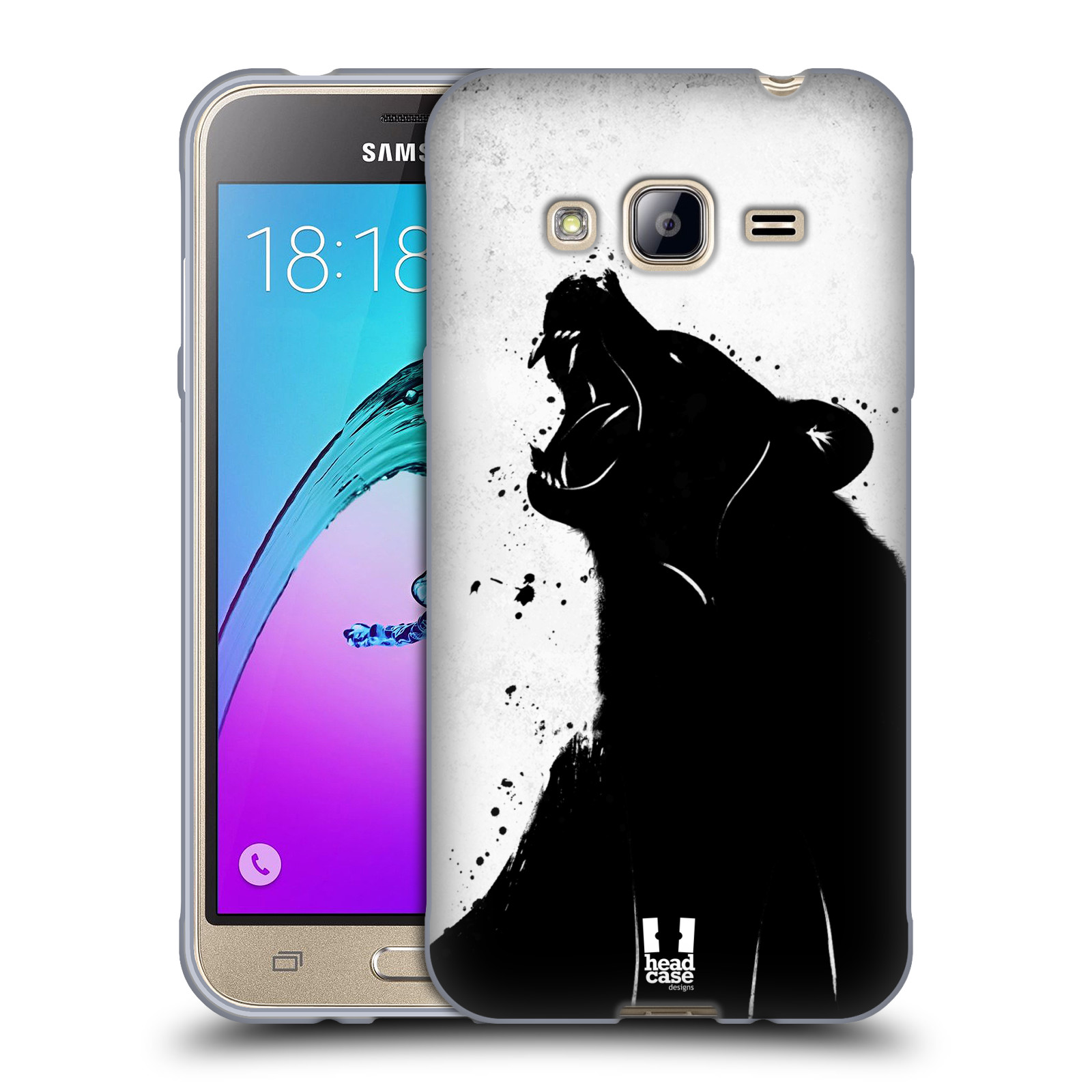 HEAD CASE silikonový obal na mobil Samsung Galaxy J3, J3 2016 vzor Kresba tuš zvíře medvěd