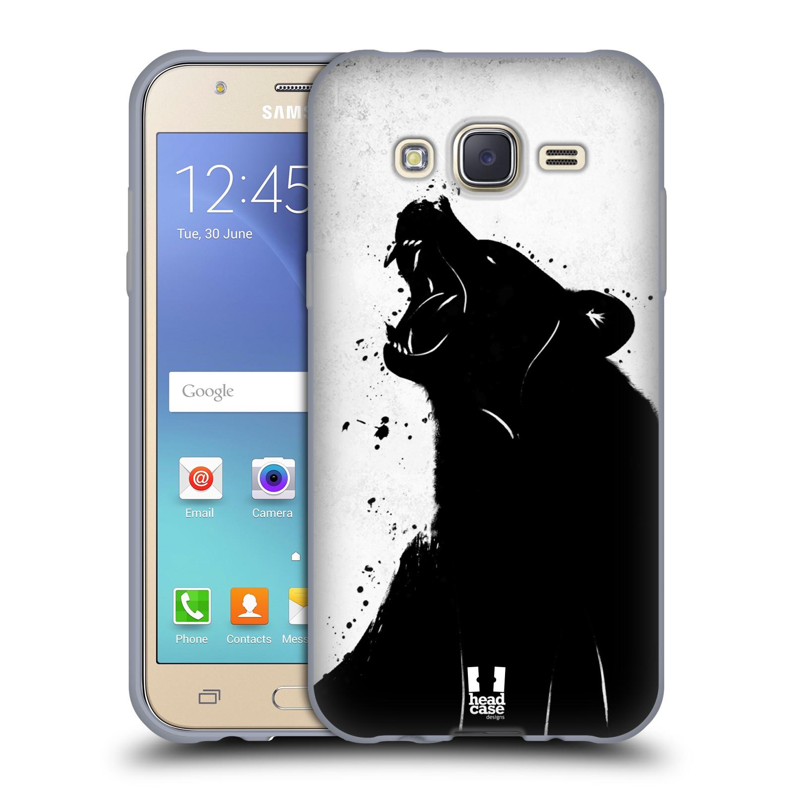 HEAD CASE silikonový obal na mobil Samsung Galaxy J5, J500, (J5 DUOS) vzor Kresba tuš zvíře medvěd