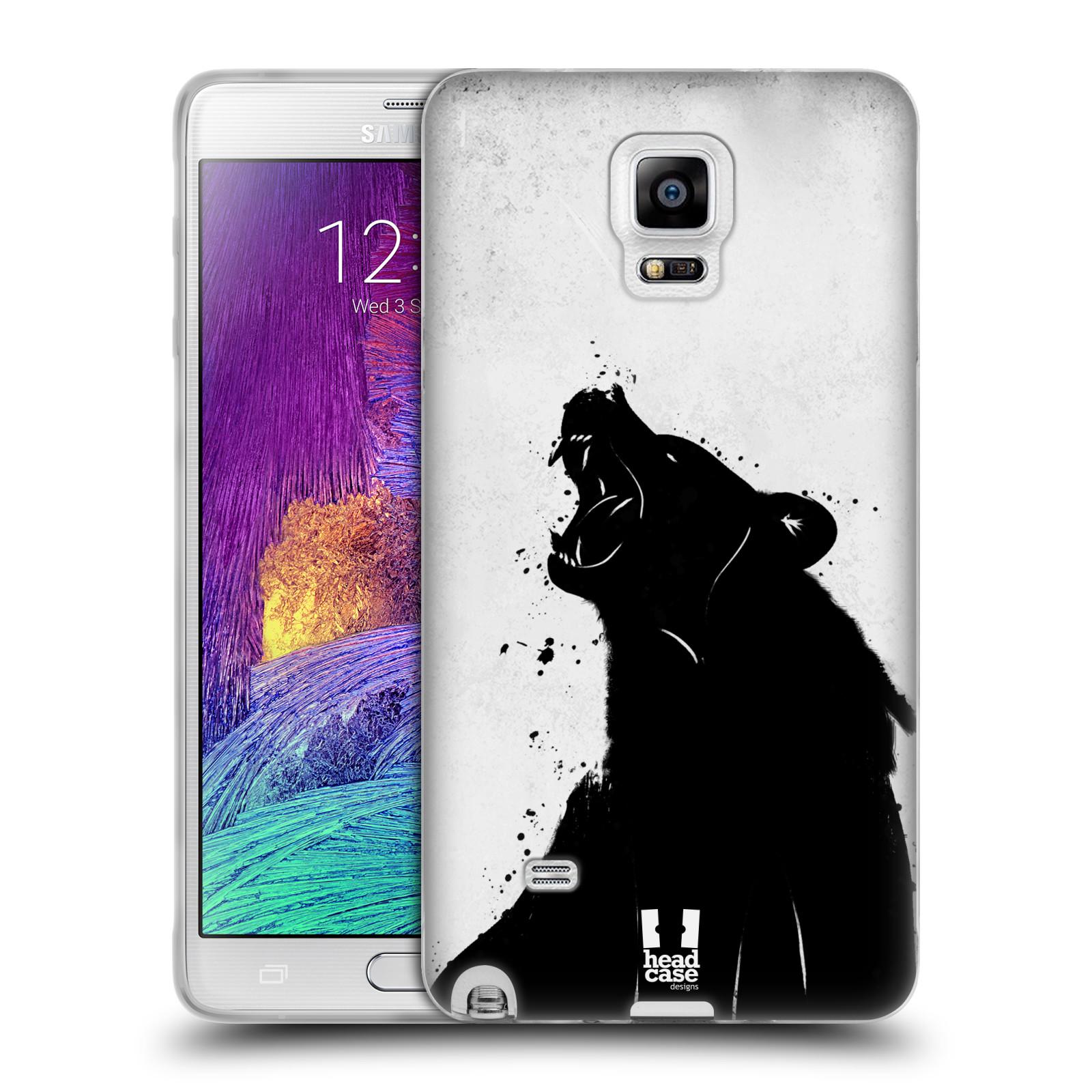 HEAD CASE silikonový obal na mobil Samsung Galaxy Note 4 (N910) vzor Kresba tuš zvíře medvěd