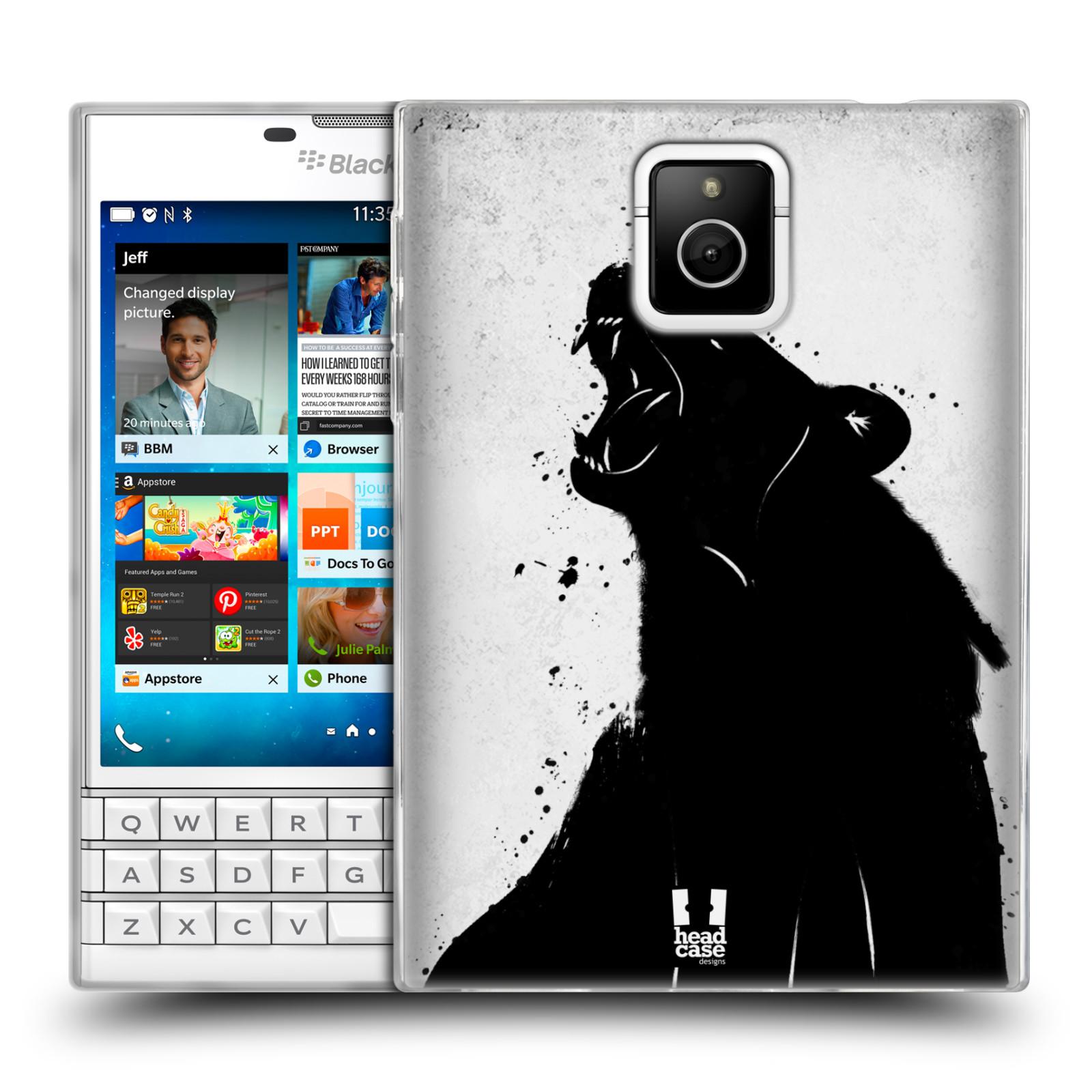 HEAD CASE silikonový obal na mobil Blackberry PASSPORT vzor Kresba tuš zvíře medvěd