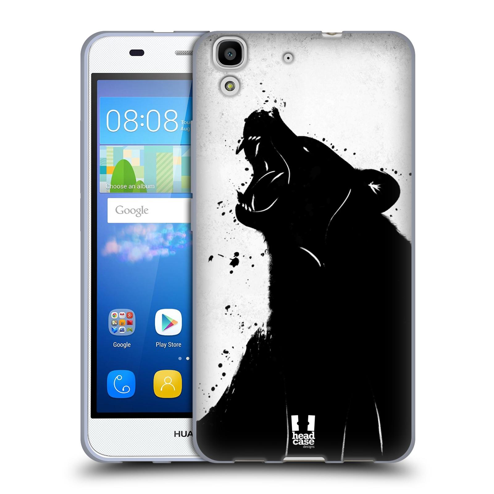 HEAD CASE silikonový obal na mobil HUAWEI Y6 vzor Kresba tuš zvíře medvěd