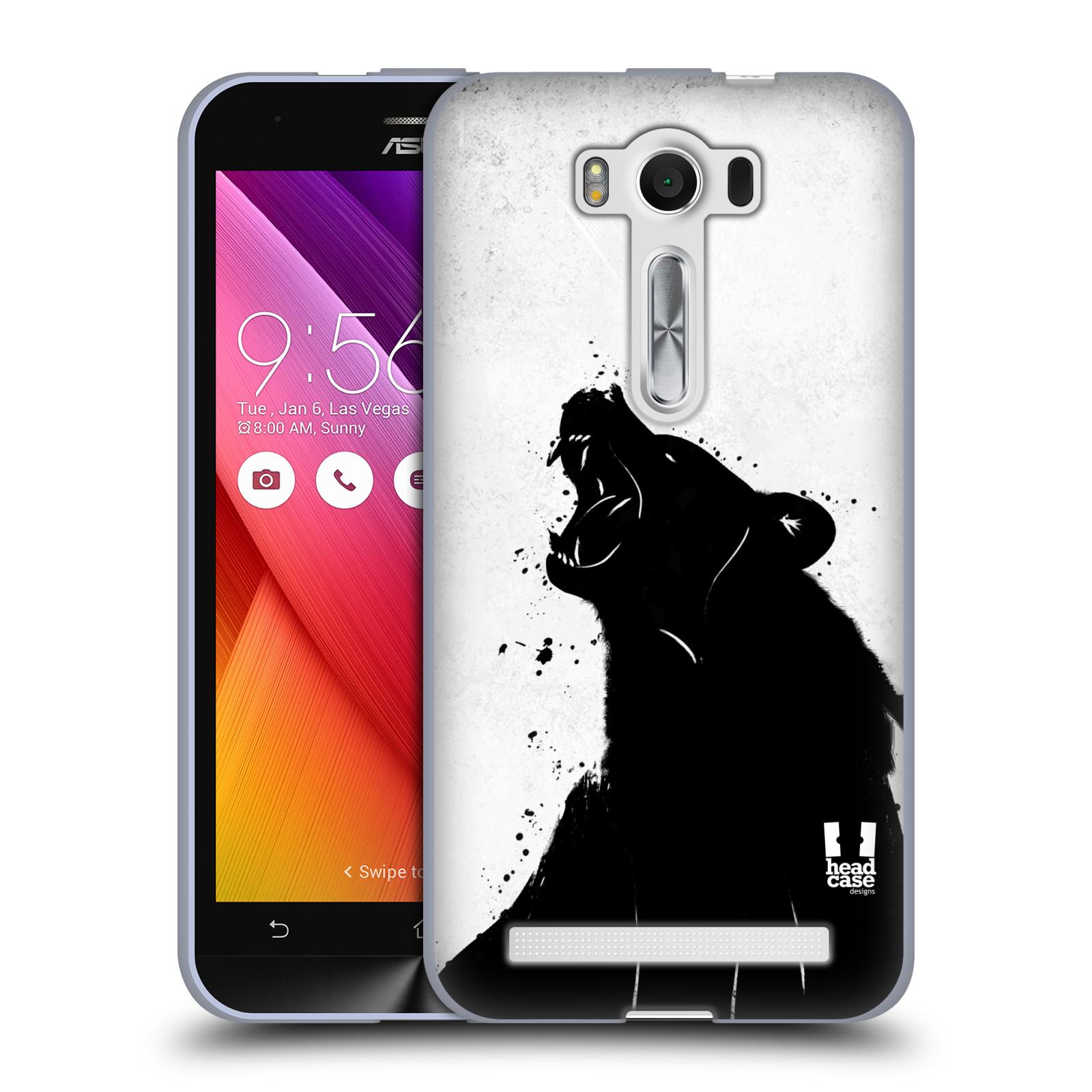 """HEAD CASE silikonový obal na mobil Asus Zenfone 2 LASER (ZE500KL s 5"""" displejem) vzor Kresba tuš zvíře medvěd"""