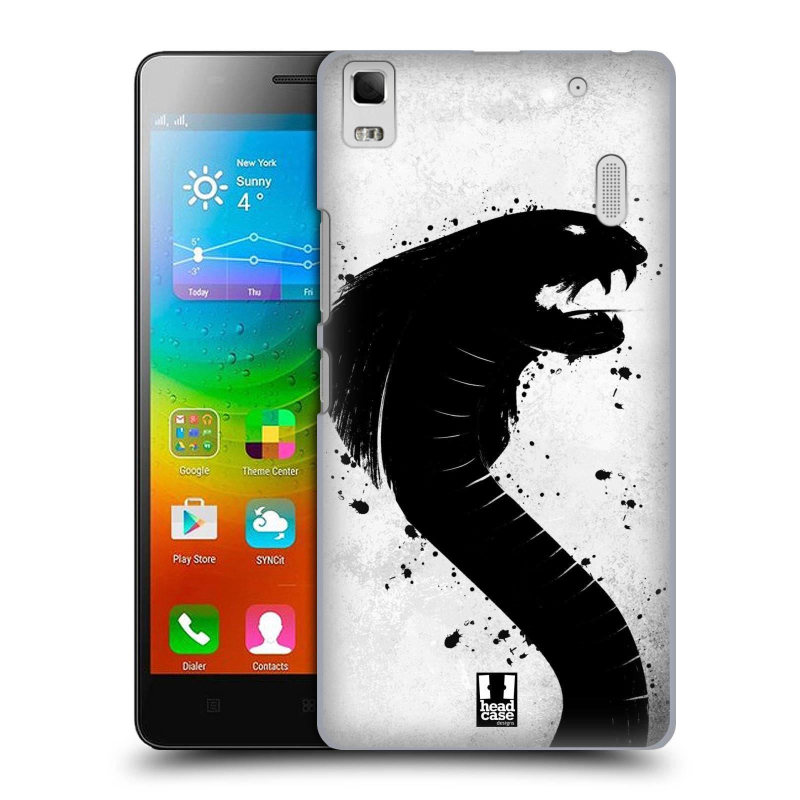 HEAD CASE pevný plastový obal na mobil LENOVO A7000 / A7000 DUAL / K3 NOTE vzor Kresba tuš zvíře had kobra