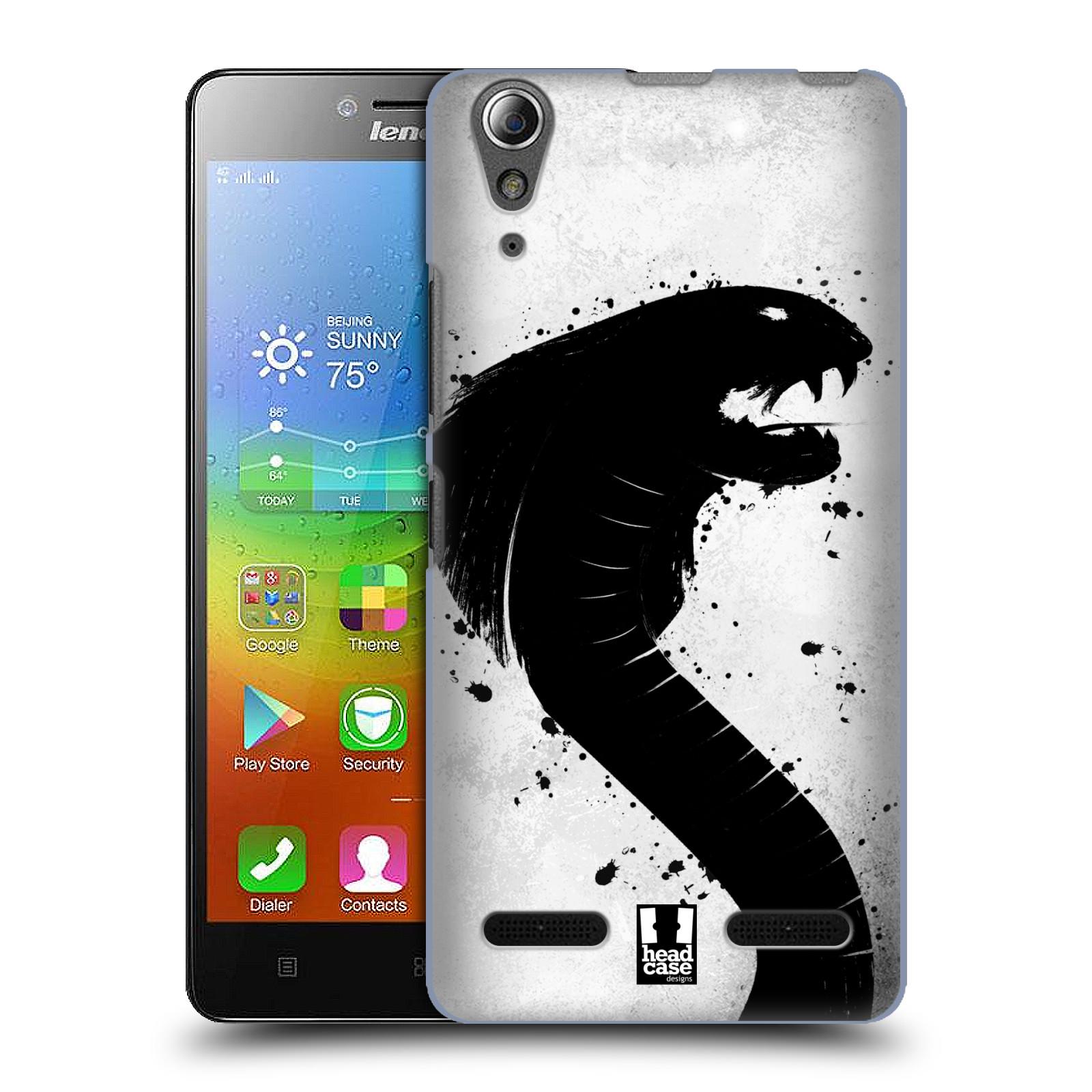 HEAD CASE pevný plastový obal na mobil LENOVO A6000 / A6000 PLUS vzor Kresba tuš zvíře had kobra
