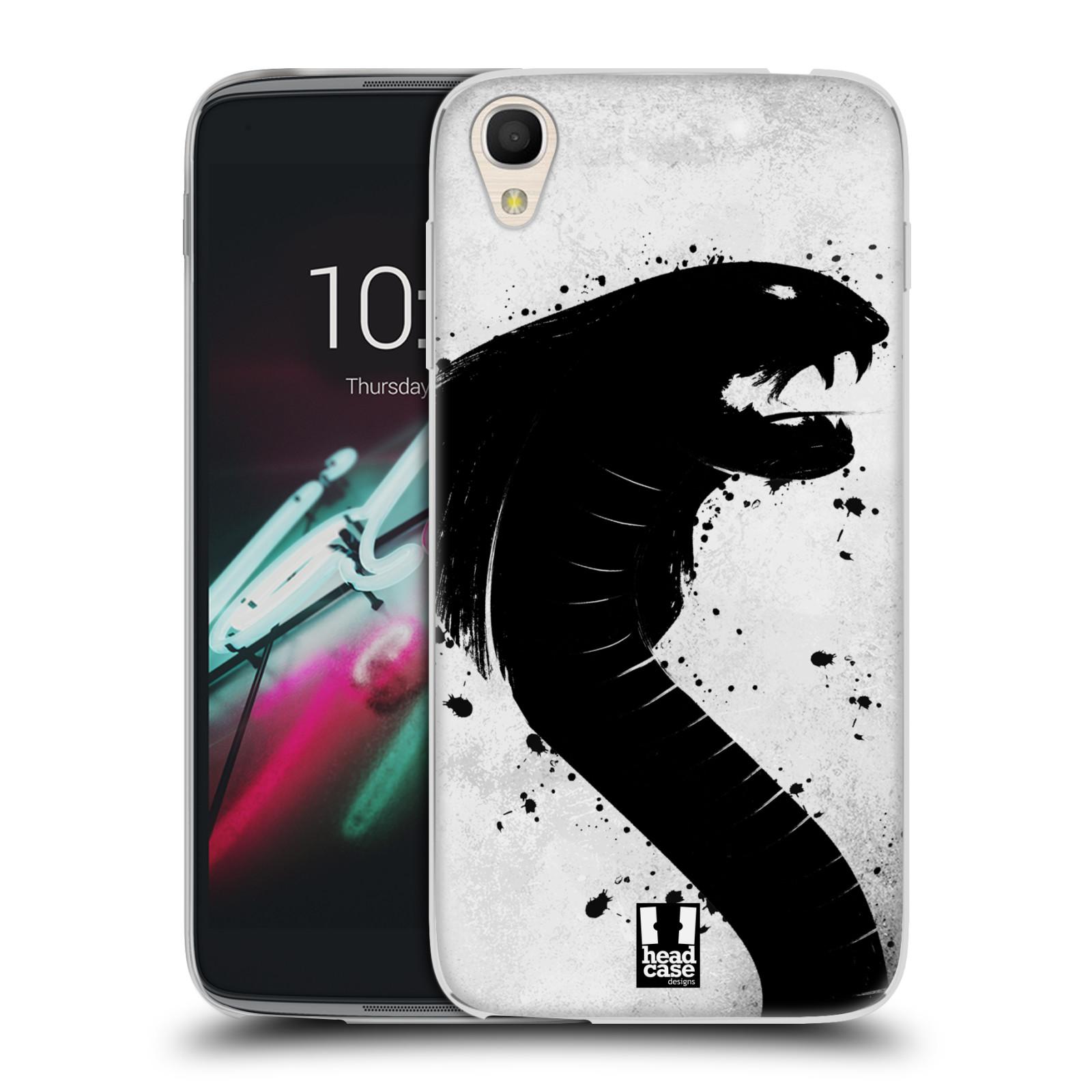 HEAD CASE silikonový obal na mobil Alcatel Idol 3 OT-6039Y (4.7) vzor Kresba tuš zvíře had kobra