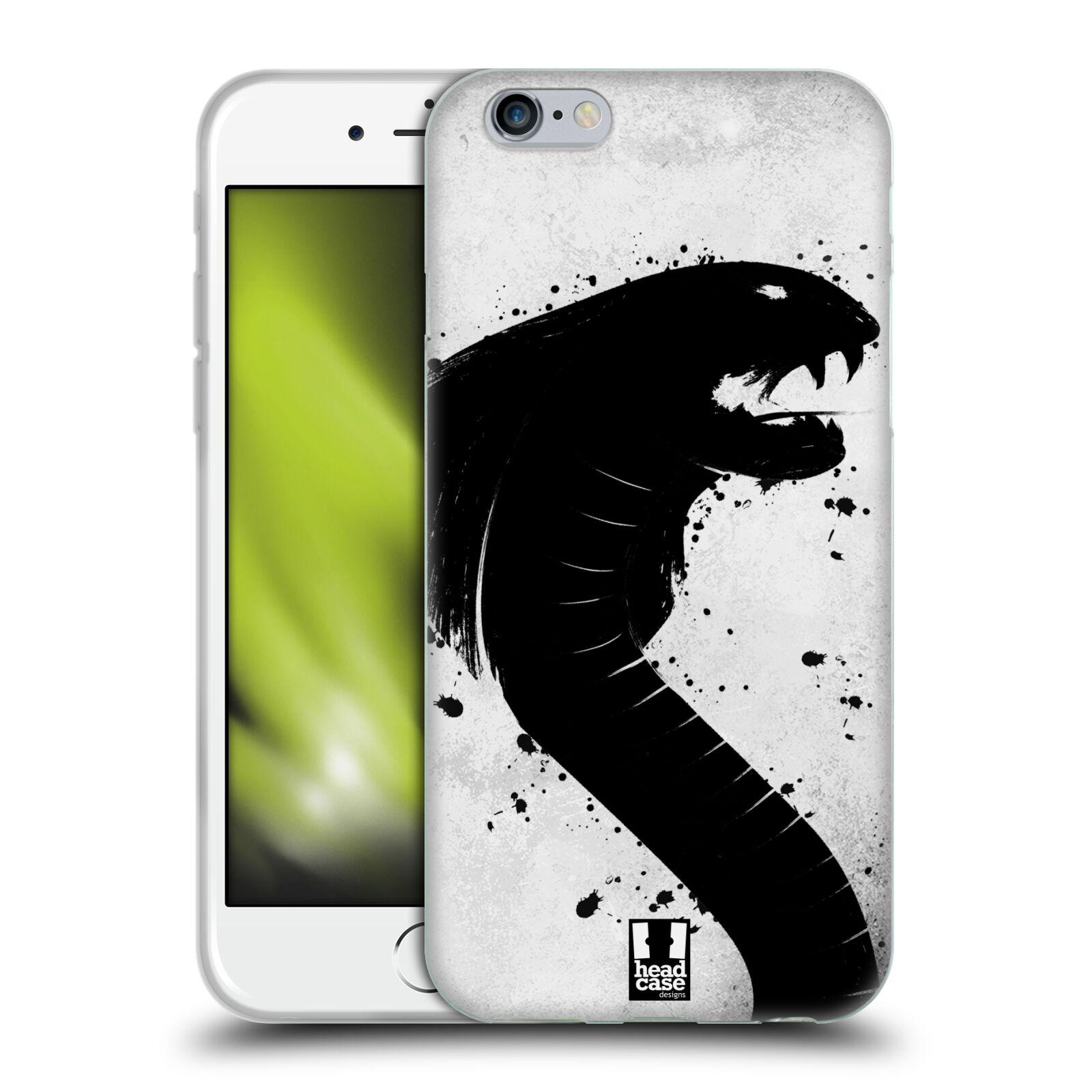 HEAD CASE silikonový obal na mobil Apple Iphone 6/6S vzor Kresba tuš zvíře had kobra