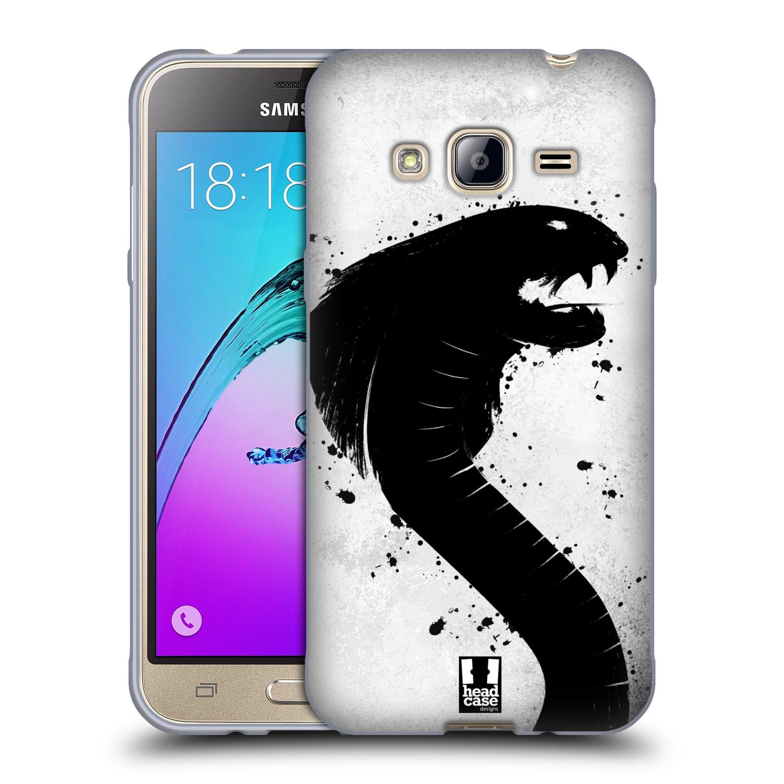 HEAD CASE silikonový obal na mobil Samsung Galaxy J3, J3 2016 vzor Kresba tuš zvíře had kobra