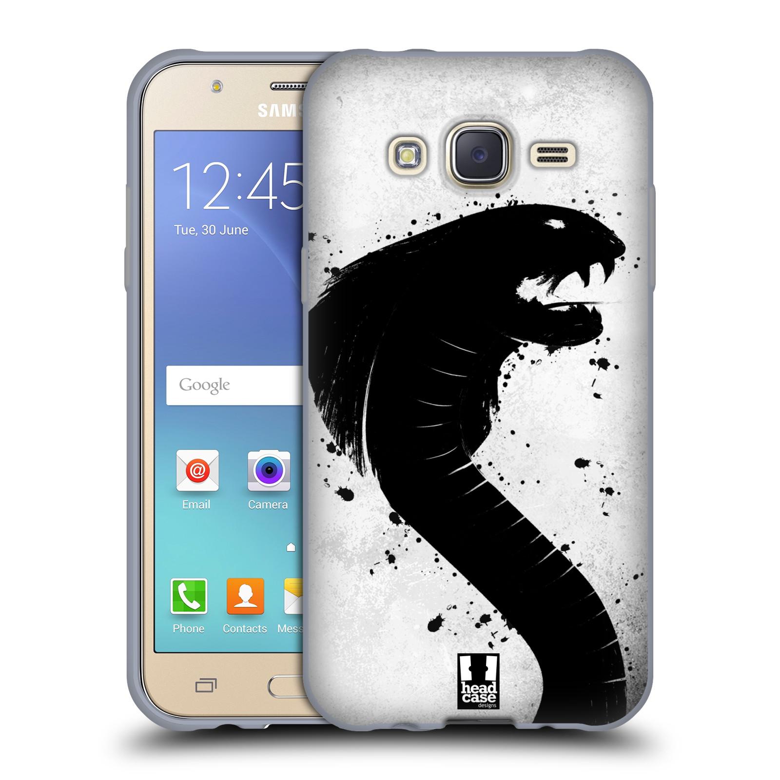 HEAD CASE silikonový obal na mobil Samsung Galaxy J5, J500, (J5 DUOS) vzor Kresba tuš zvíře had kobra