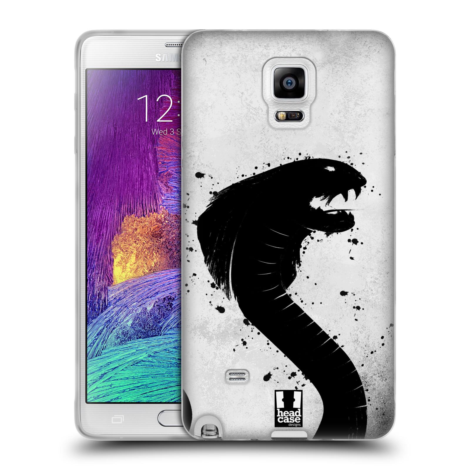 HEAD CASE silikonový obal na mobil Samsung Galaxy Note 4 (N910) vzor Kresba tuš zvíře had kobra