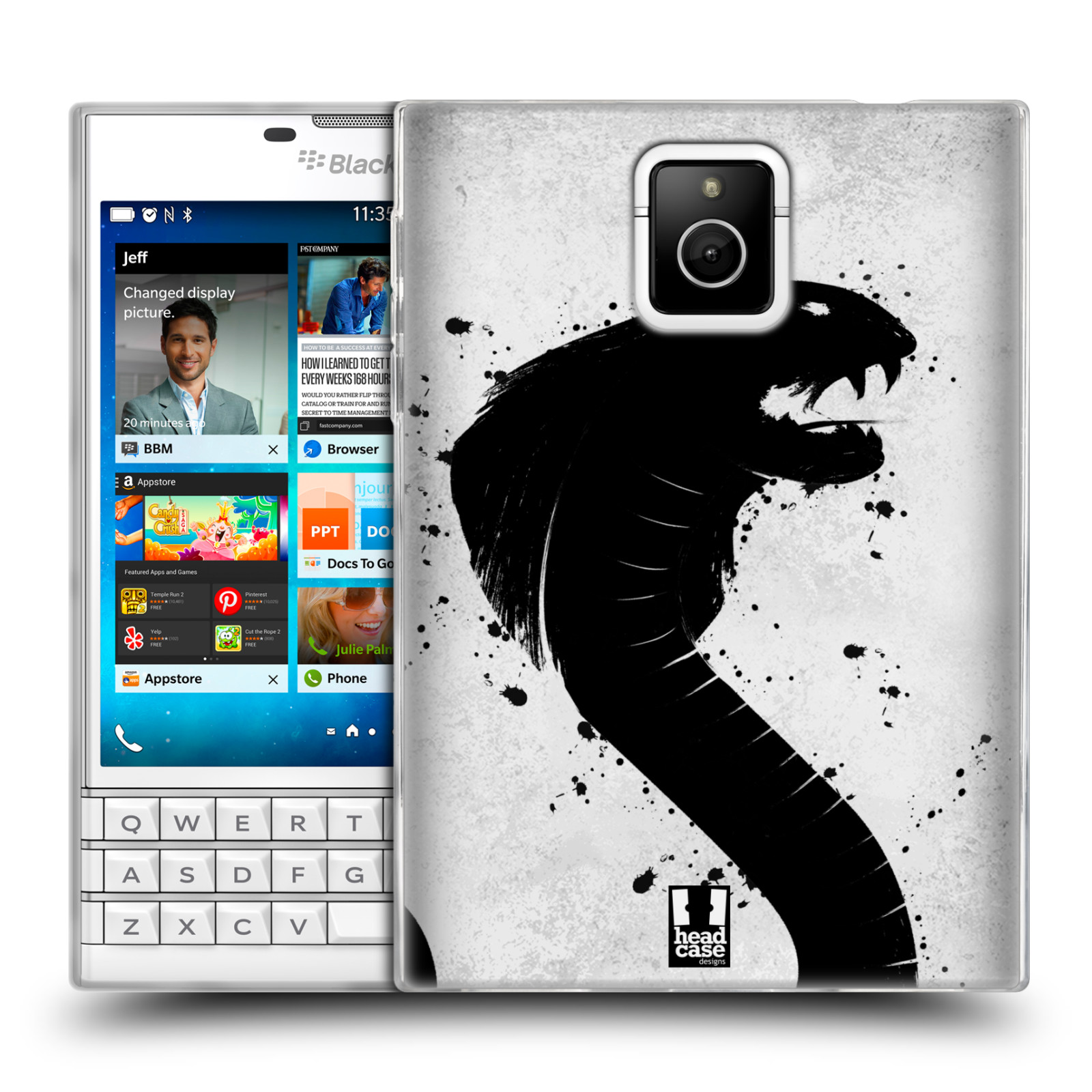 HEAD CASE silikonový obal na mobil Blackberry PASSPORT vzor Kresba tuš zvíře had kobra