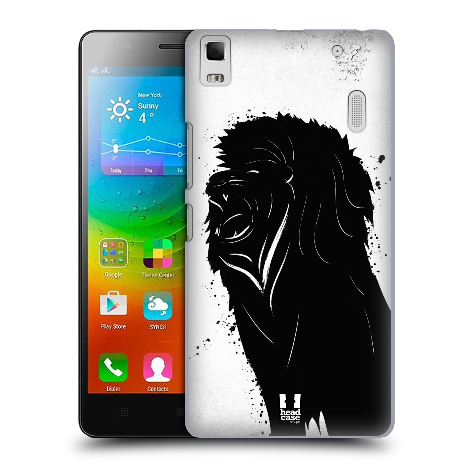 HEAD CASE pevný plastový obal na mobil LENOVO A7000 / A7000 DUAL / K3 NOTE vzor Kresba tuš zvíře lev