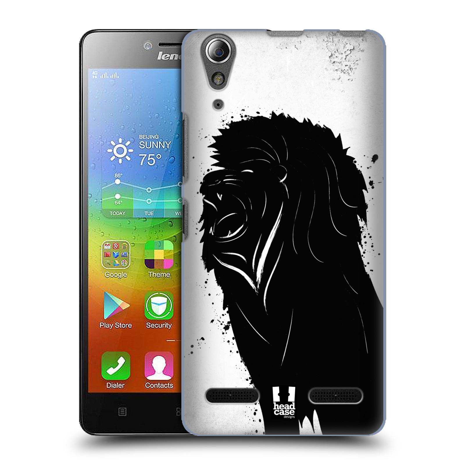 HEAD CASE pevný plastový obal na mobil LENOVO A6000 / A6000 PLUS vzor Kresba tuš zvíře lev