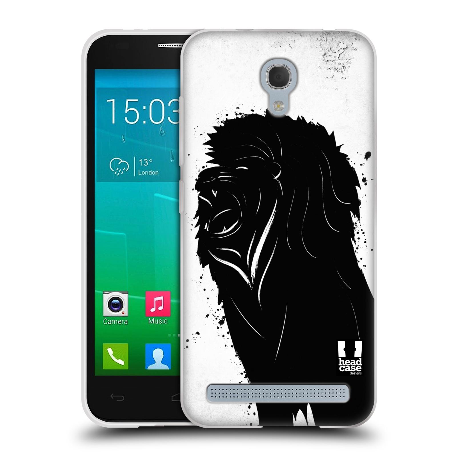 HEAD CASE silikonový obal na mobil Alcatel Idol 2 MINI S 6036Y vzor Kresba tuš zvíře lev