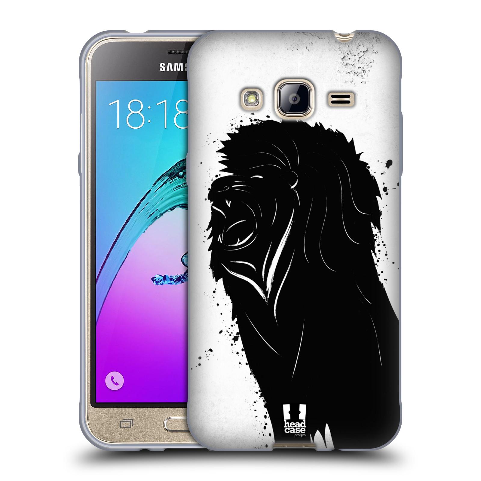 HEAD CASE silikonový obal na mobil Samsung Galaxy J3, J3 2016 vzor Kresba tuš zvíře lev