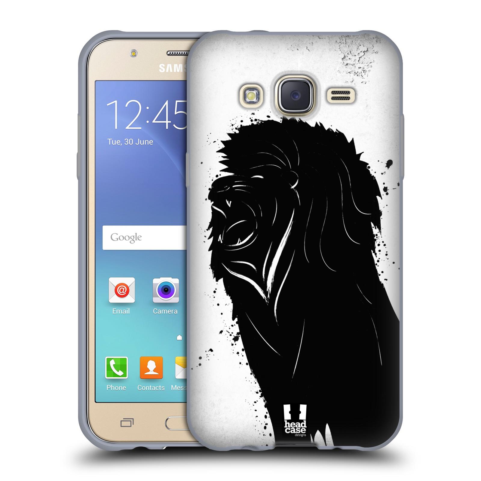 HEAD CASE silikonový obal na mobil Samsung Galaxy J5, J500, (J5 DUOS) vzor Kresba tuš zvíře lev