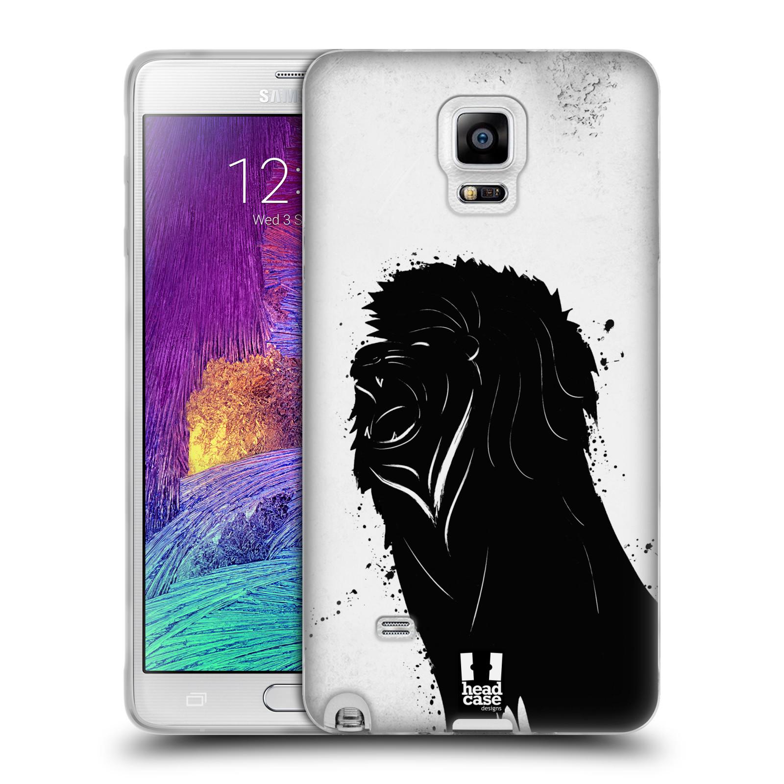 HEAD CASE silikonový obal na mobil Samsung Galaxy Note 4 (N910) vzor Kresba tuš zvíře lev