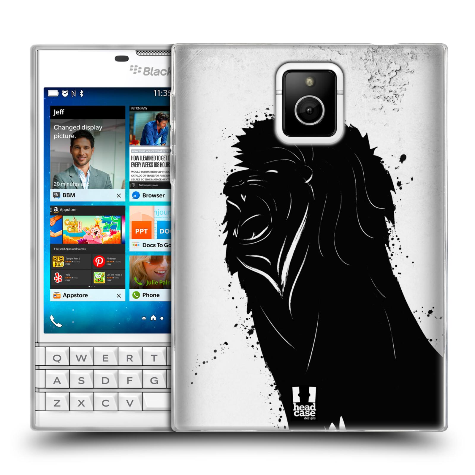 HEAD CASE silikonový obal na mobil Blackberry PASSPORT vzor Kresba tuš zvíře lev