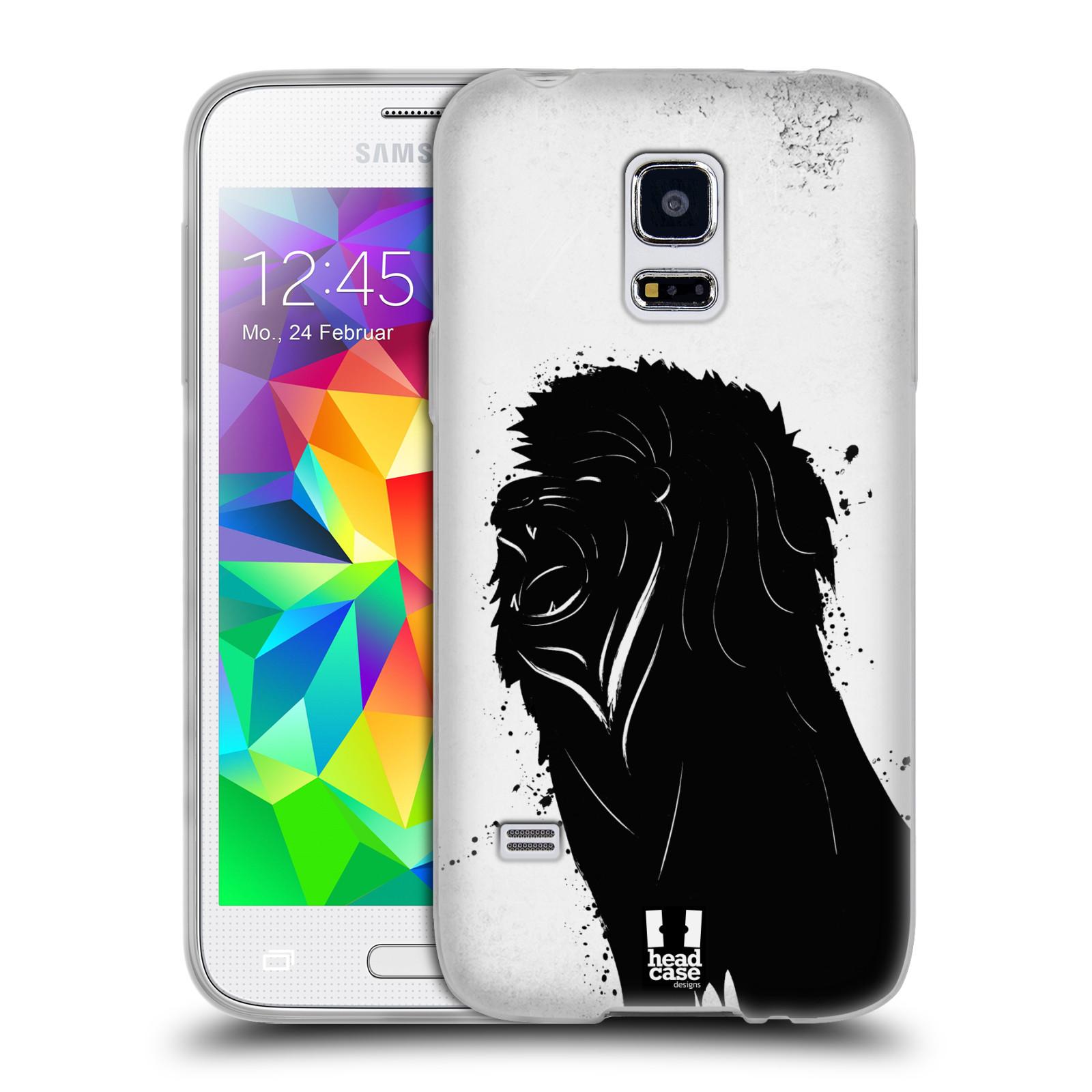 HEAD CASE silikonový obal na mobil Samsung Galaxy S5 MINI vzor Kresba tuš zvíře lev