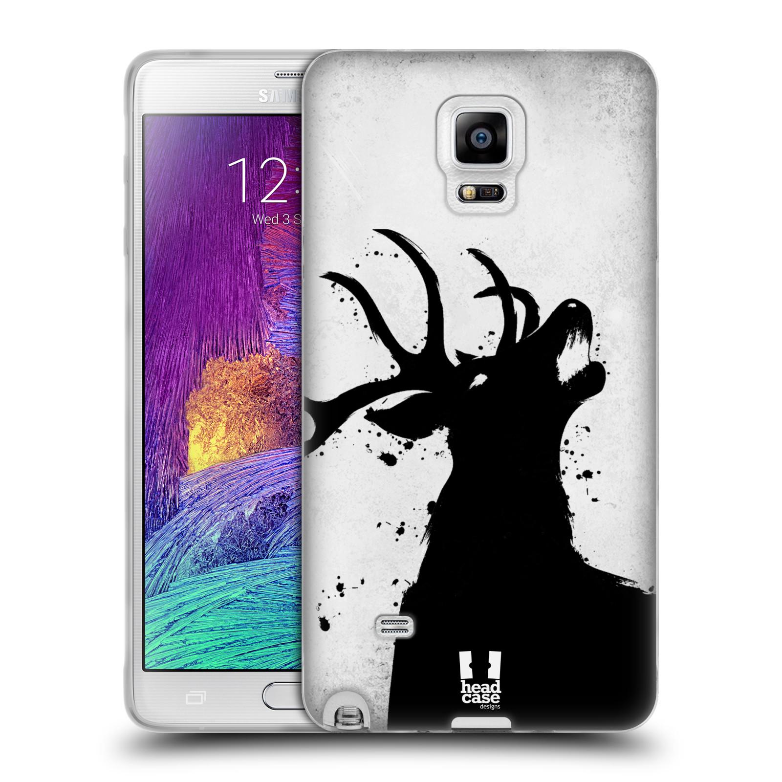 HEAD CASE silikonový obal na mobil Samsung Galaxy Note 4 (N910) vzor Kresba tuš zvíře jelen