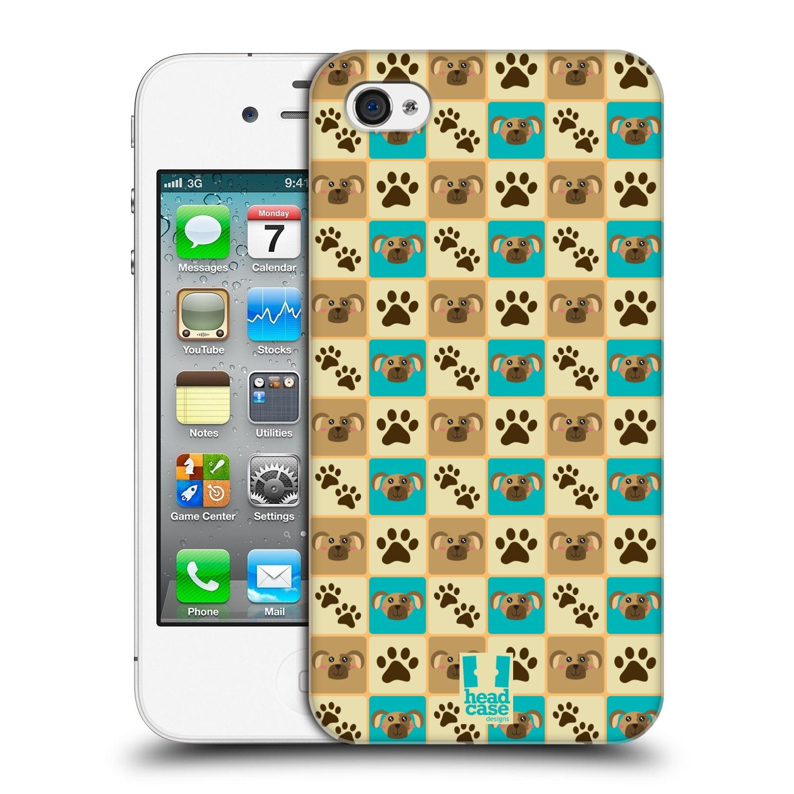 HEAD CASE plastový obal na mobil Apple Iphone 4/4S vzor Zvířecí razítka PSÍ TLAPKA