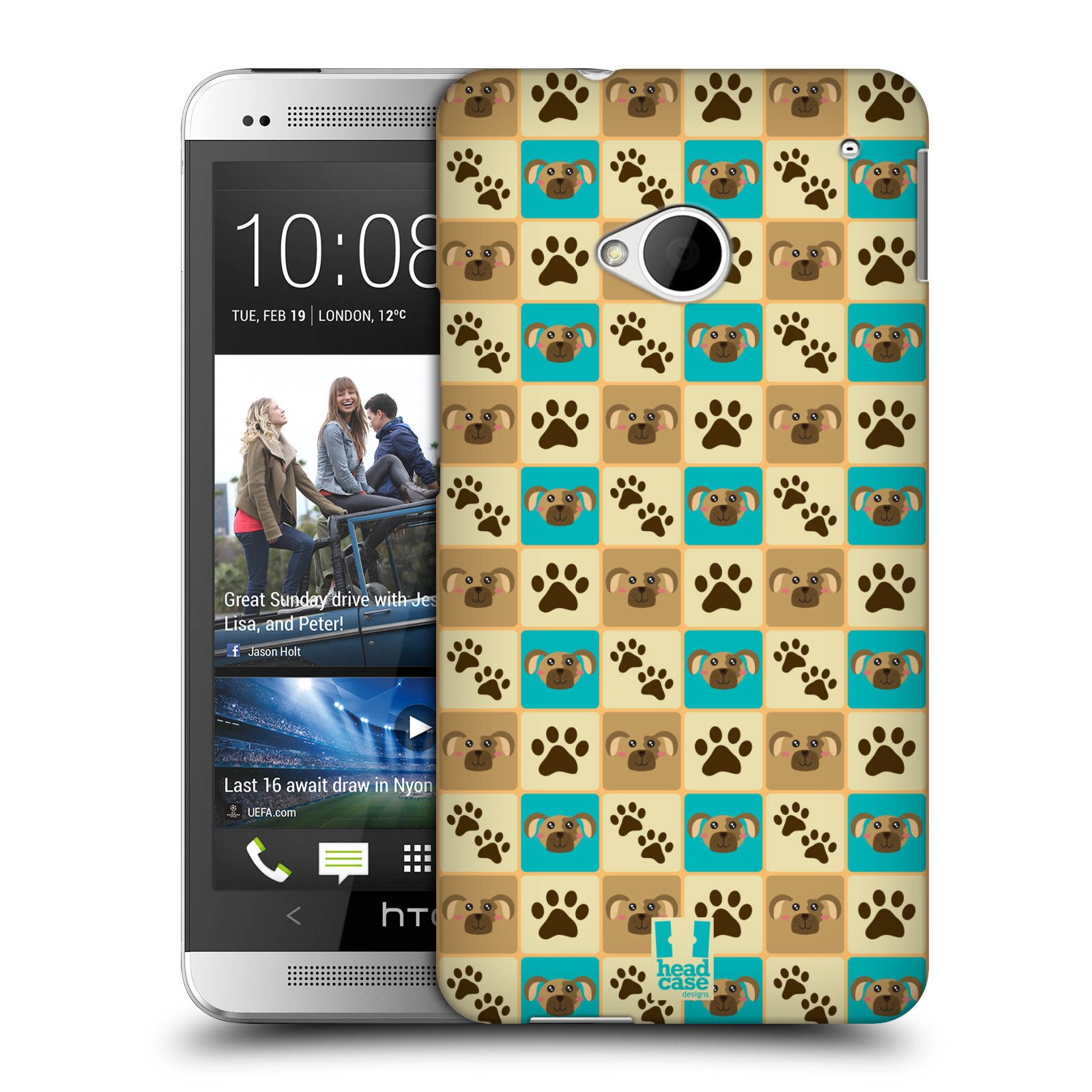 HEAD CASE plastový obal na mobil HTC One (M7) vzor Zvířecí razítka PSÍ TLAPKA
